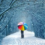 snow and colorful umbrella
