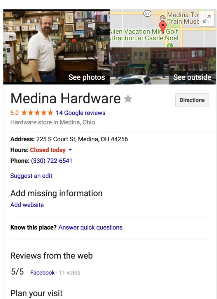medina hardware google listing