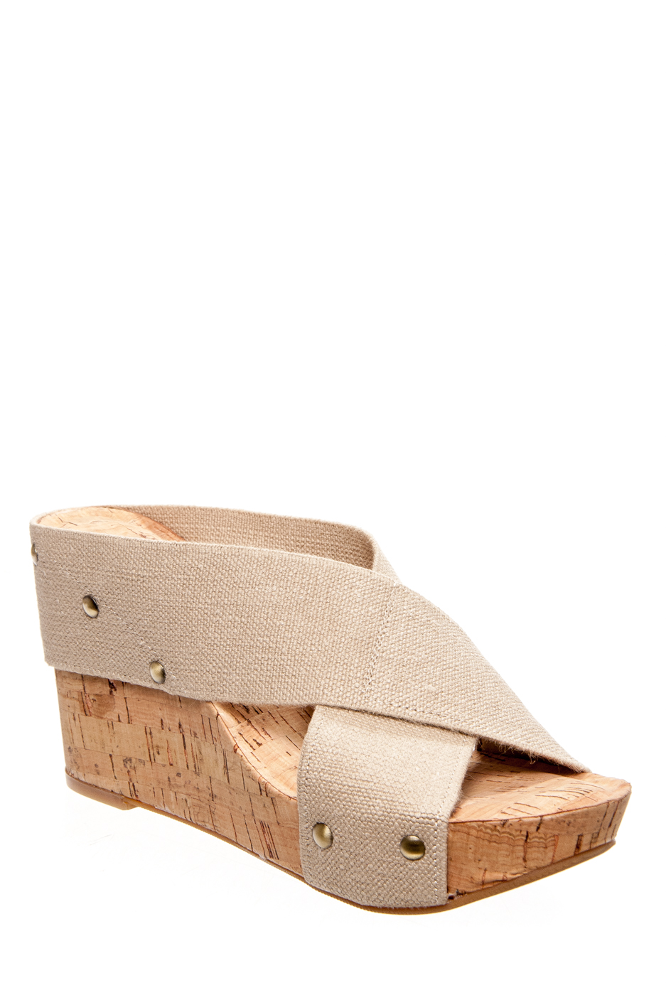 Lucky Brand Miller2 Slip On Wedge Sandals - Natural