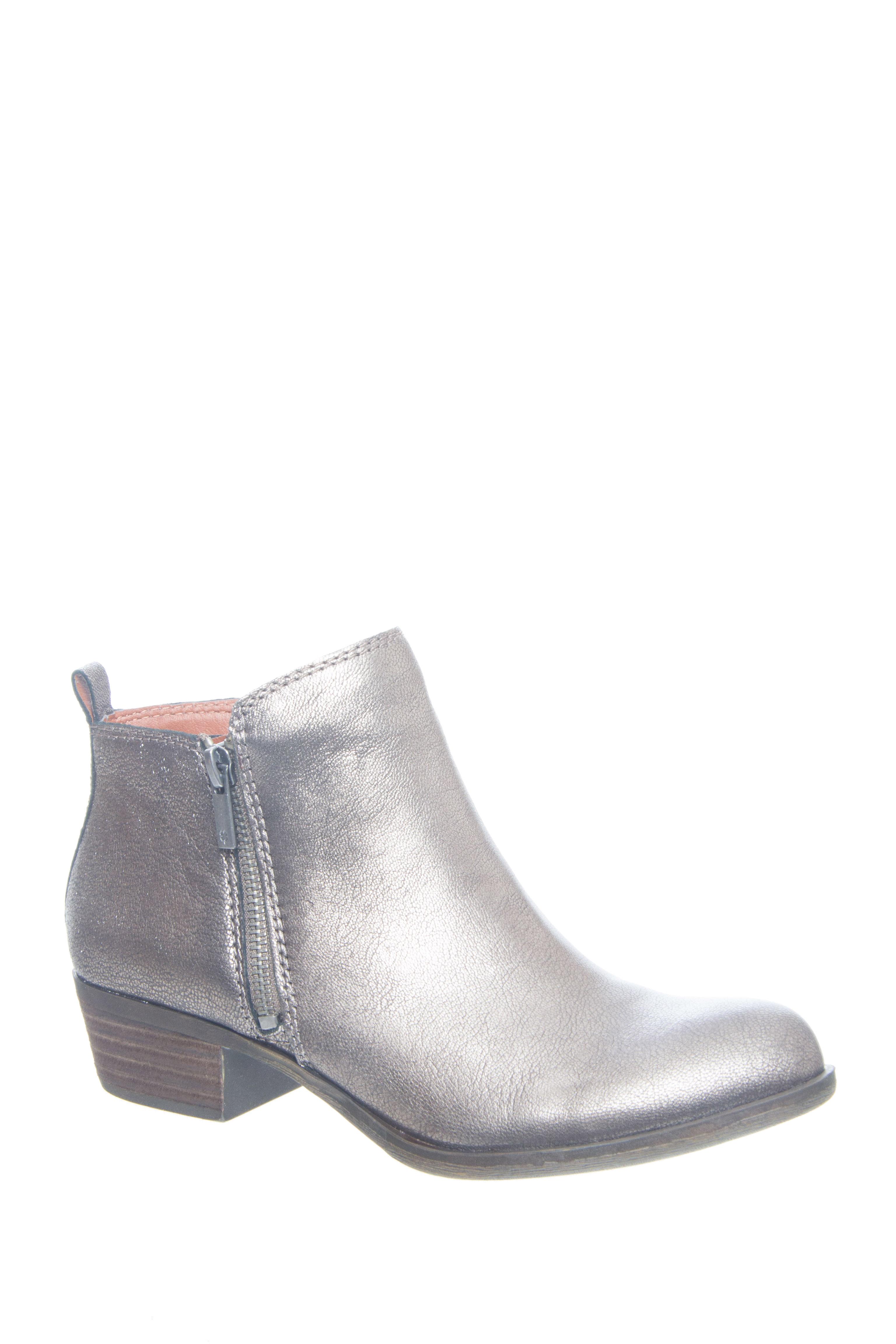 Vintage Style Boots Basel Metallic Low Heel Bootie - Old Pewter $128.99 AT vintagedancer.com