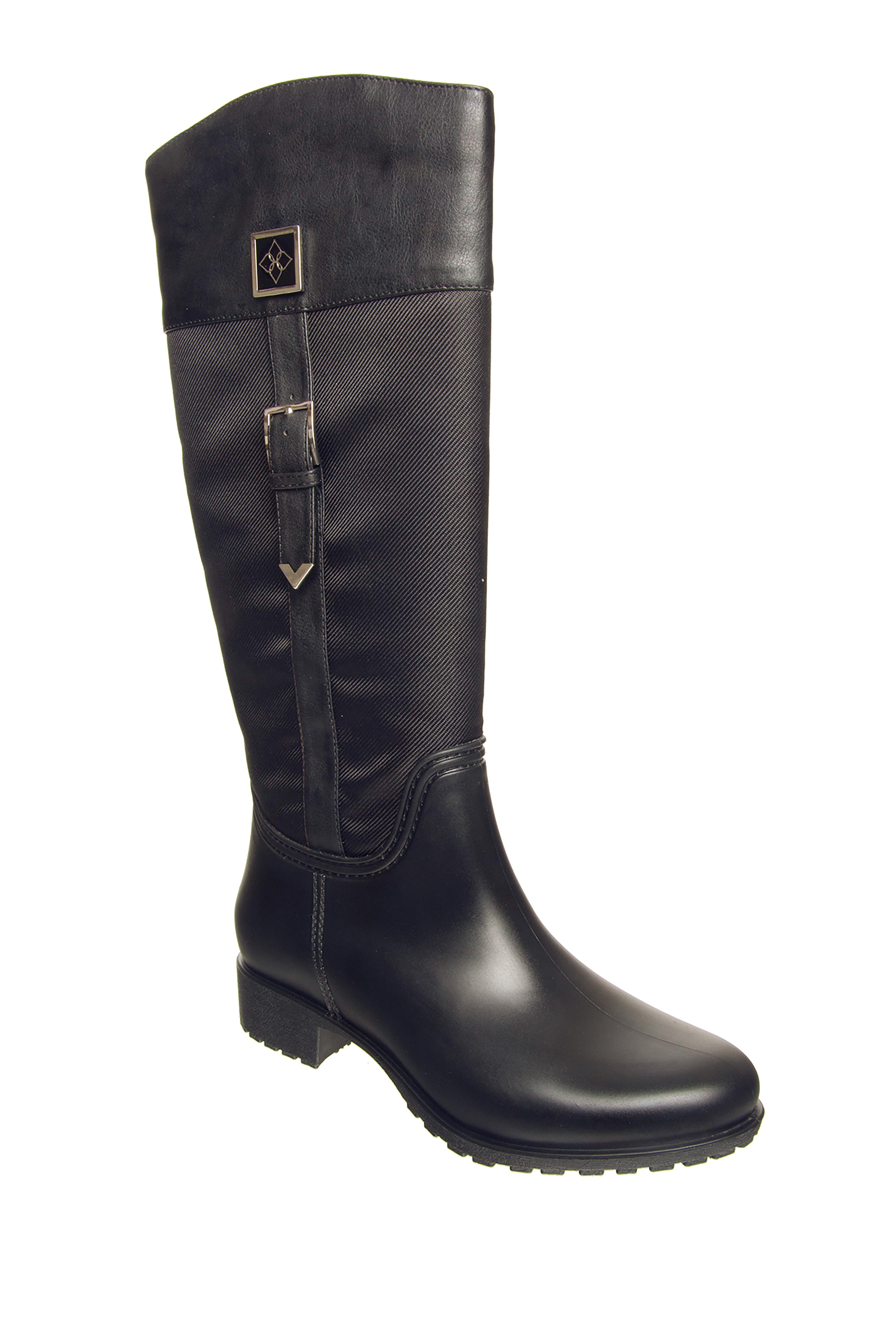 dav Coventry Nylon Mid Heel Rain Boots - Black