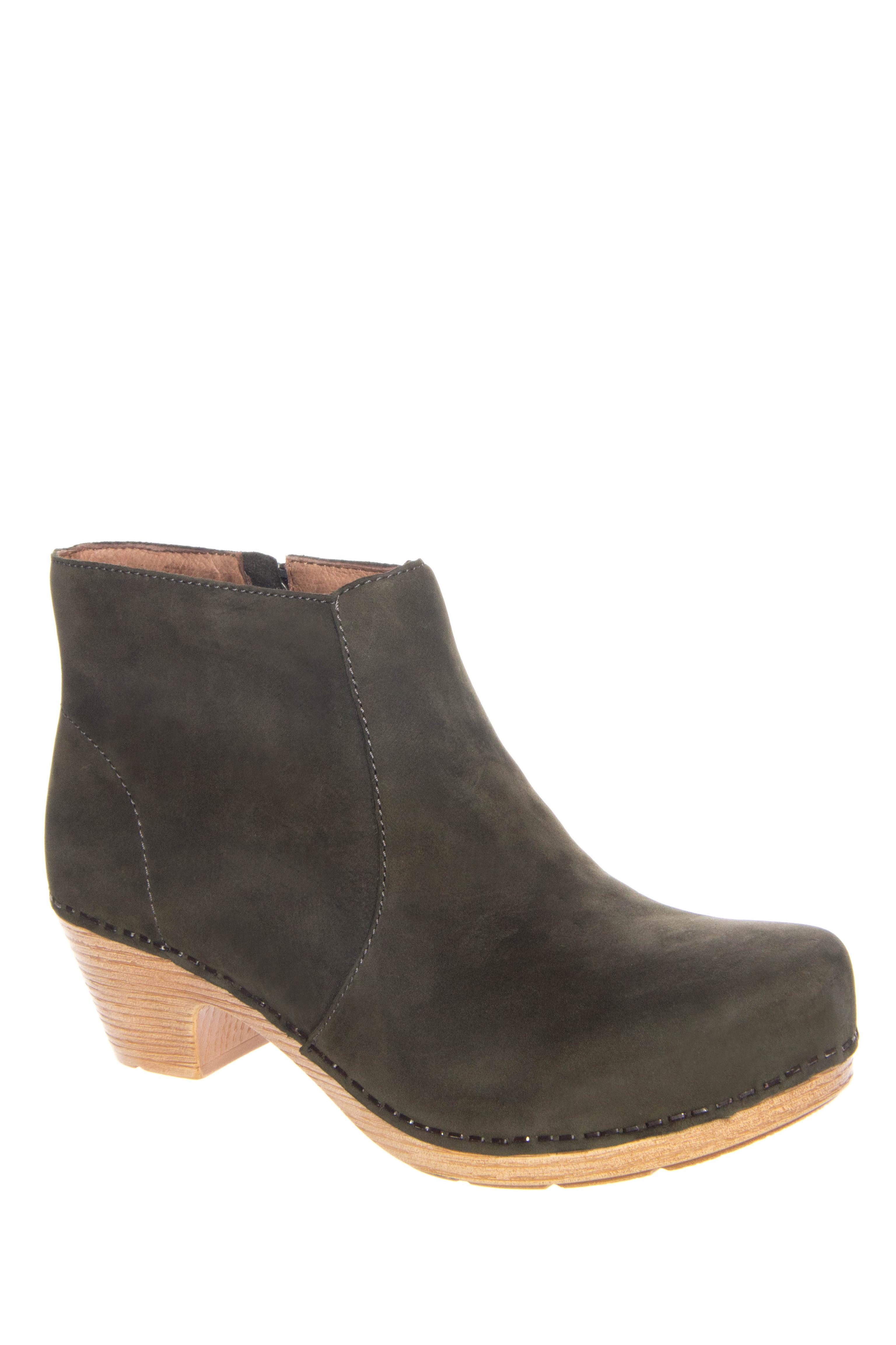 Dansko Maria Milled Low Heel Booties - Olive