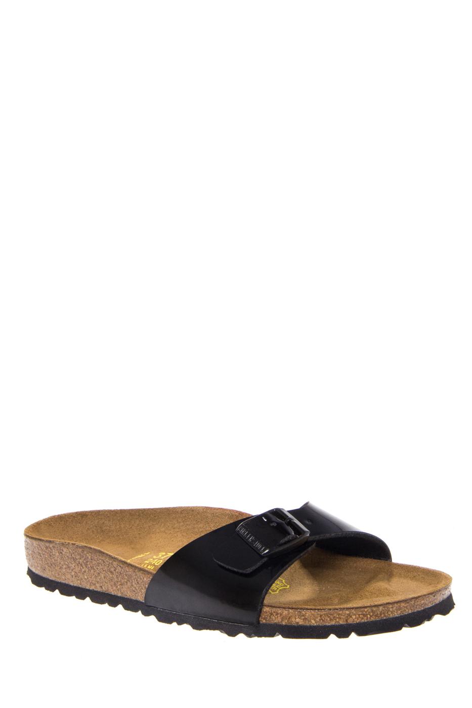 Birkenstock Madrid Slide Flats Sandals - Black Patent