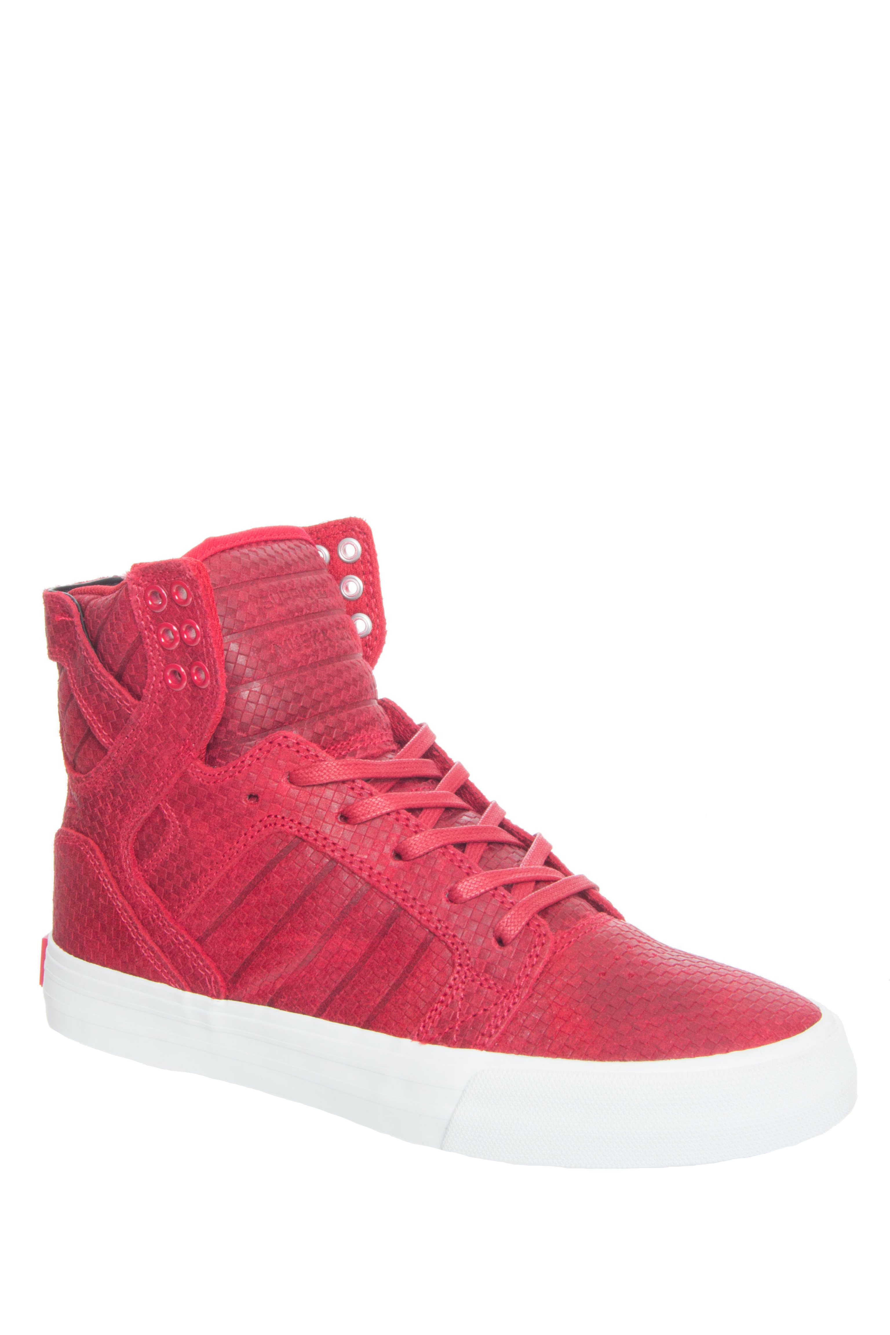 Supra Skytop High Top - Red / Embossed Suede