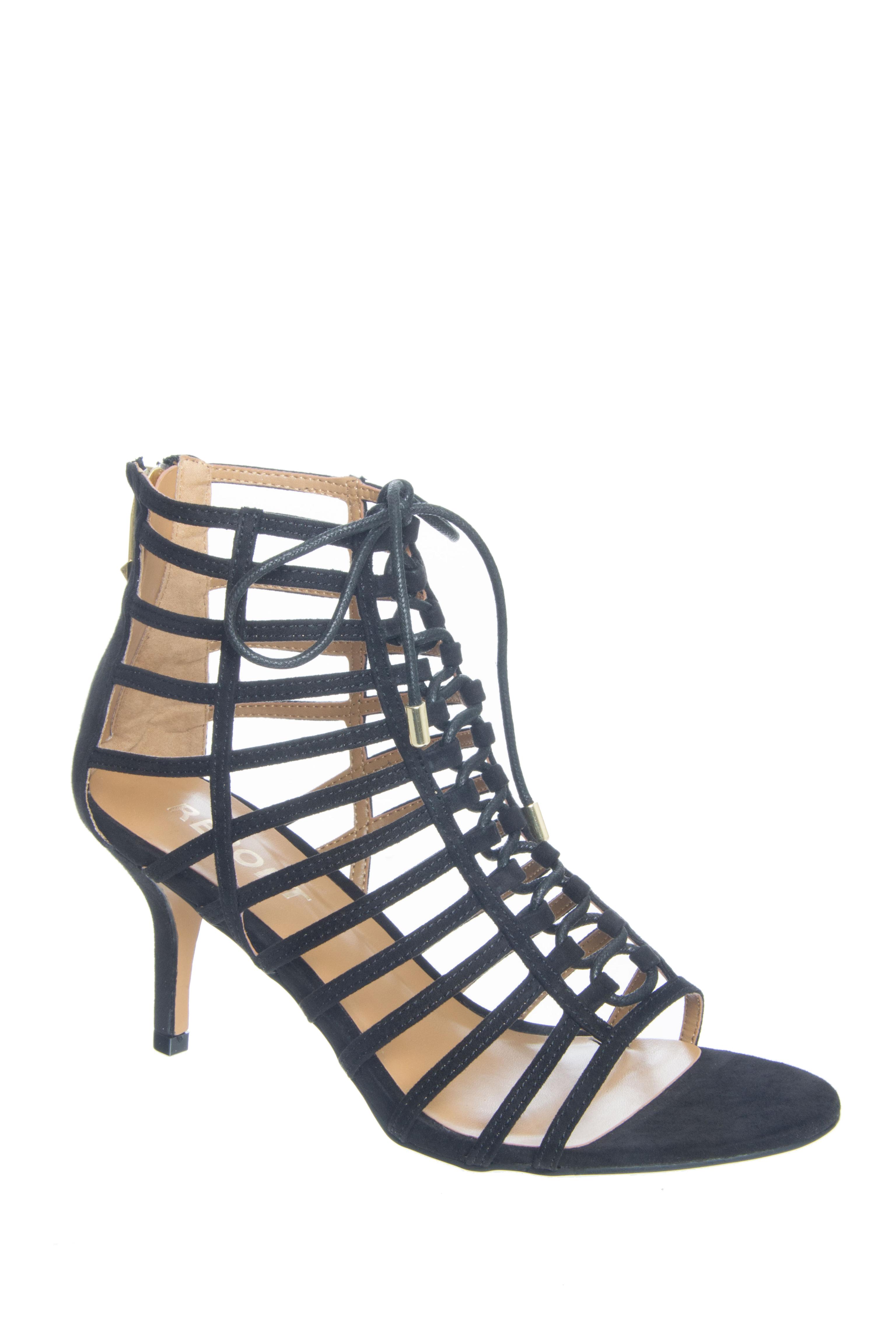 Report Berner Caged Low Heel Sandals - Black