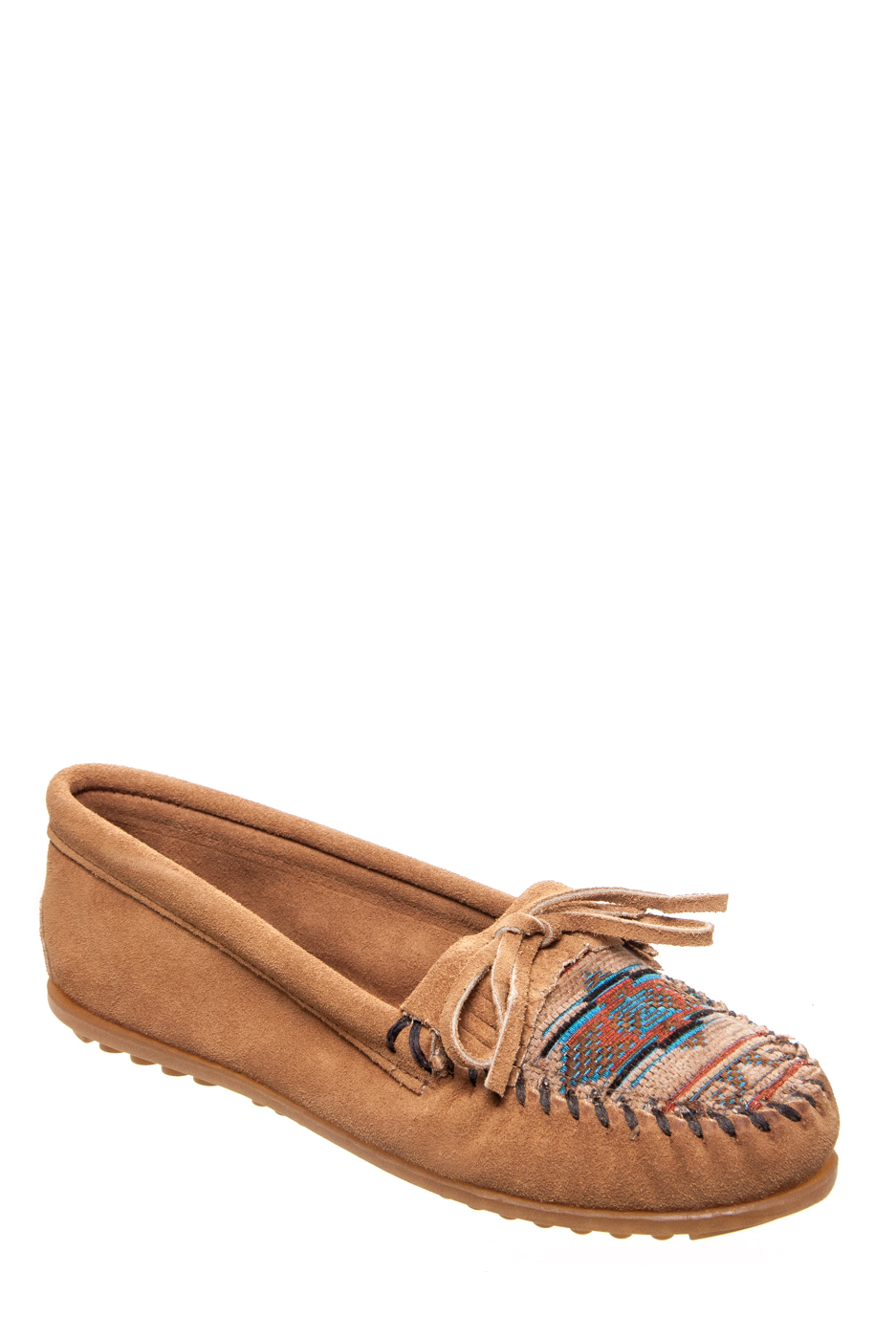 Minnetonka El Paso Suede Moccasins - Taupe