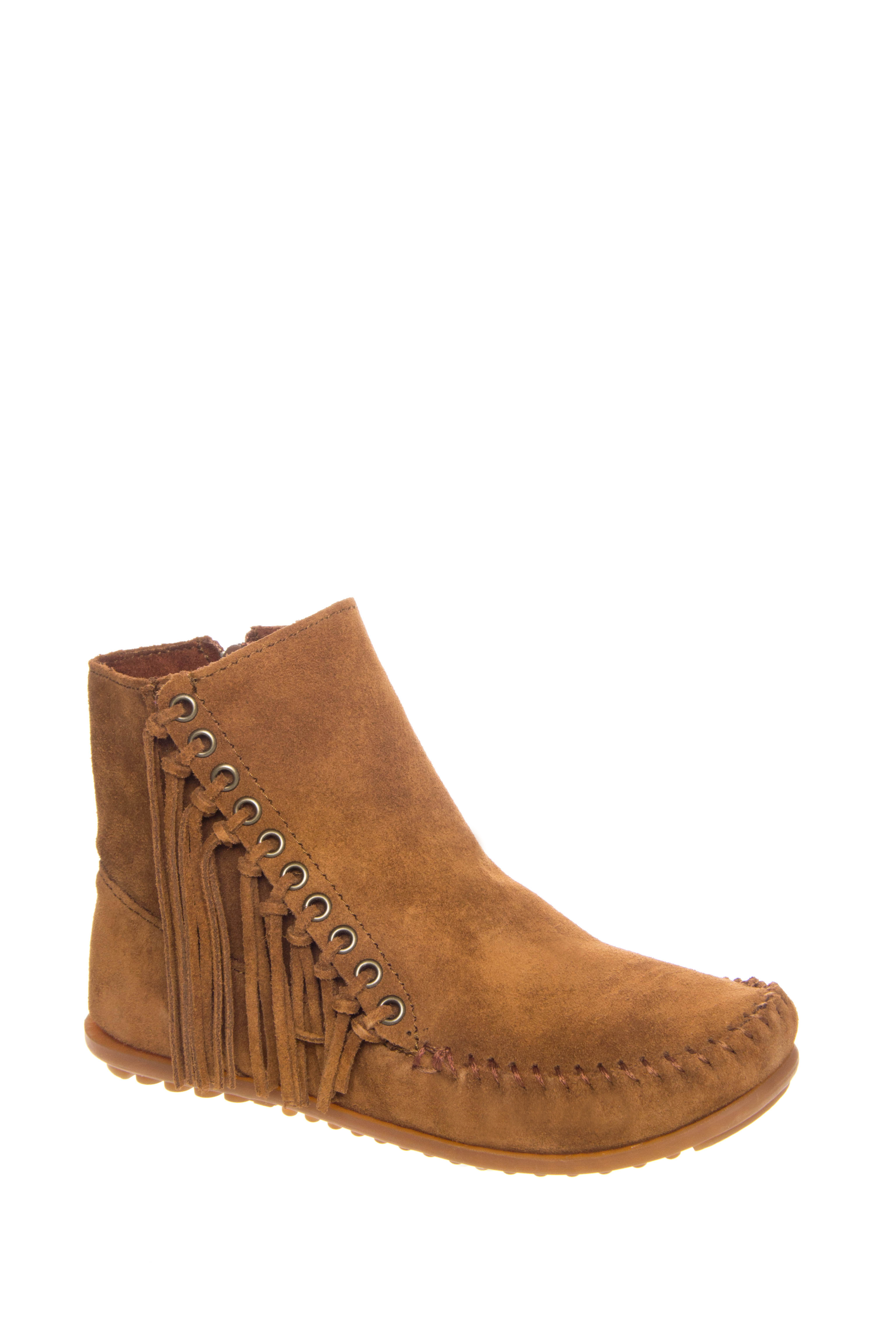 Minnetonka Willow Suede Fringe Booties - Dusty Brown