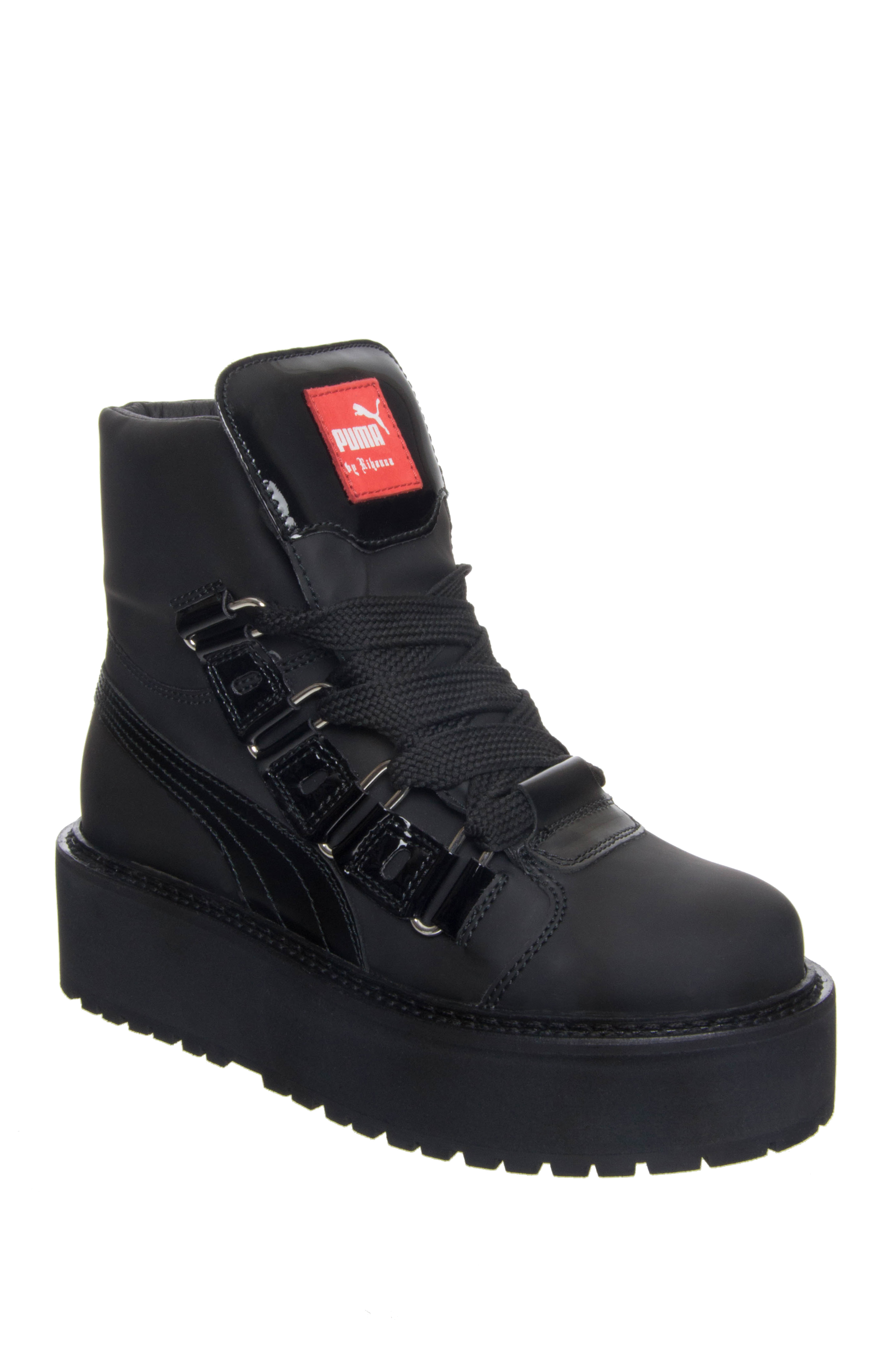 Puma Unisex Fenty x by Rihanna Platform Eyelet Sneakers Boots - Black