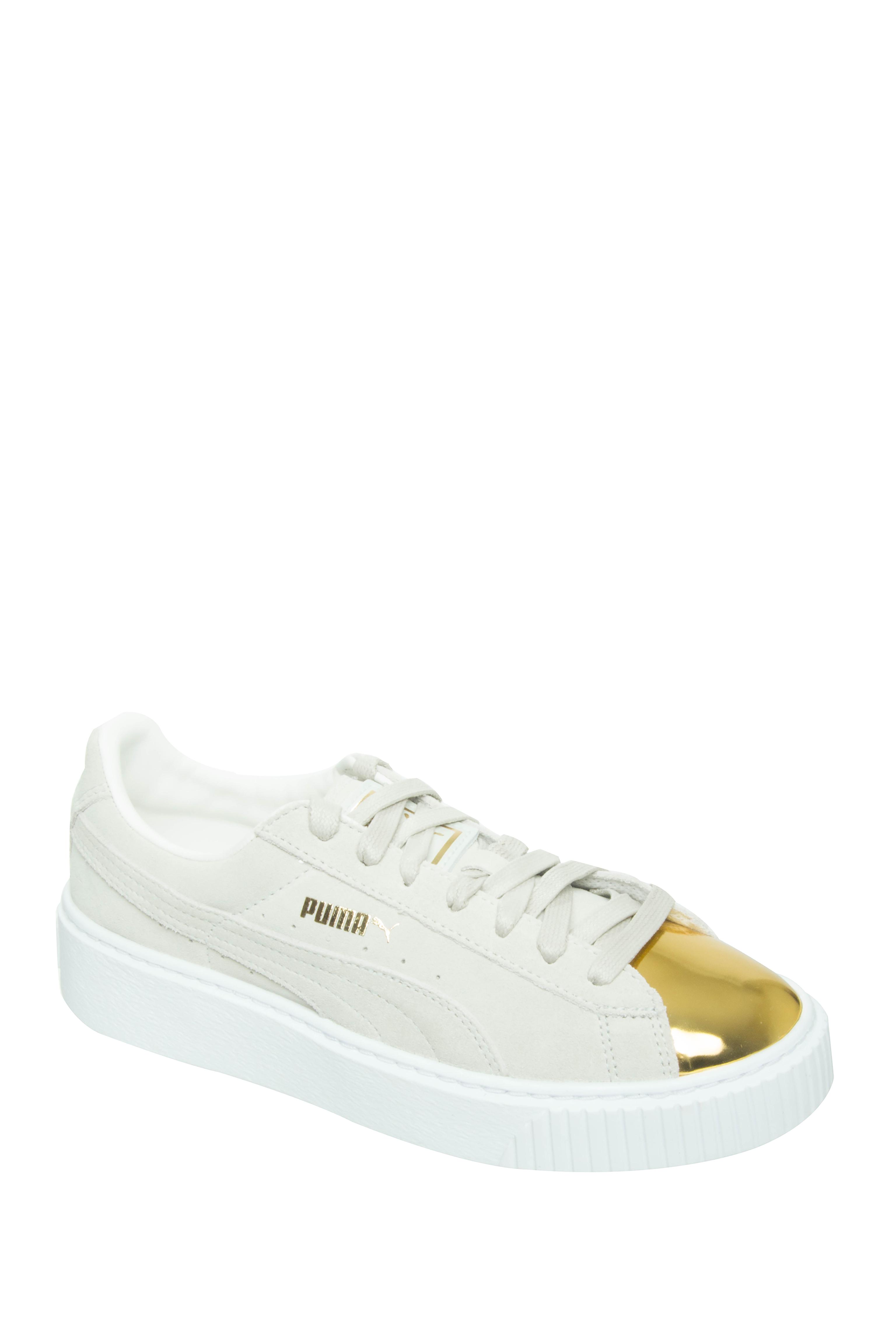 Puma Goldtoe Suede Platform Sneakers - White
