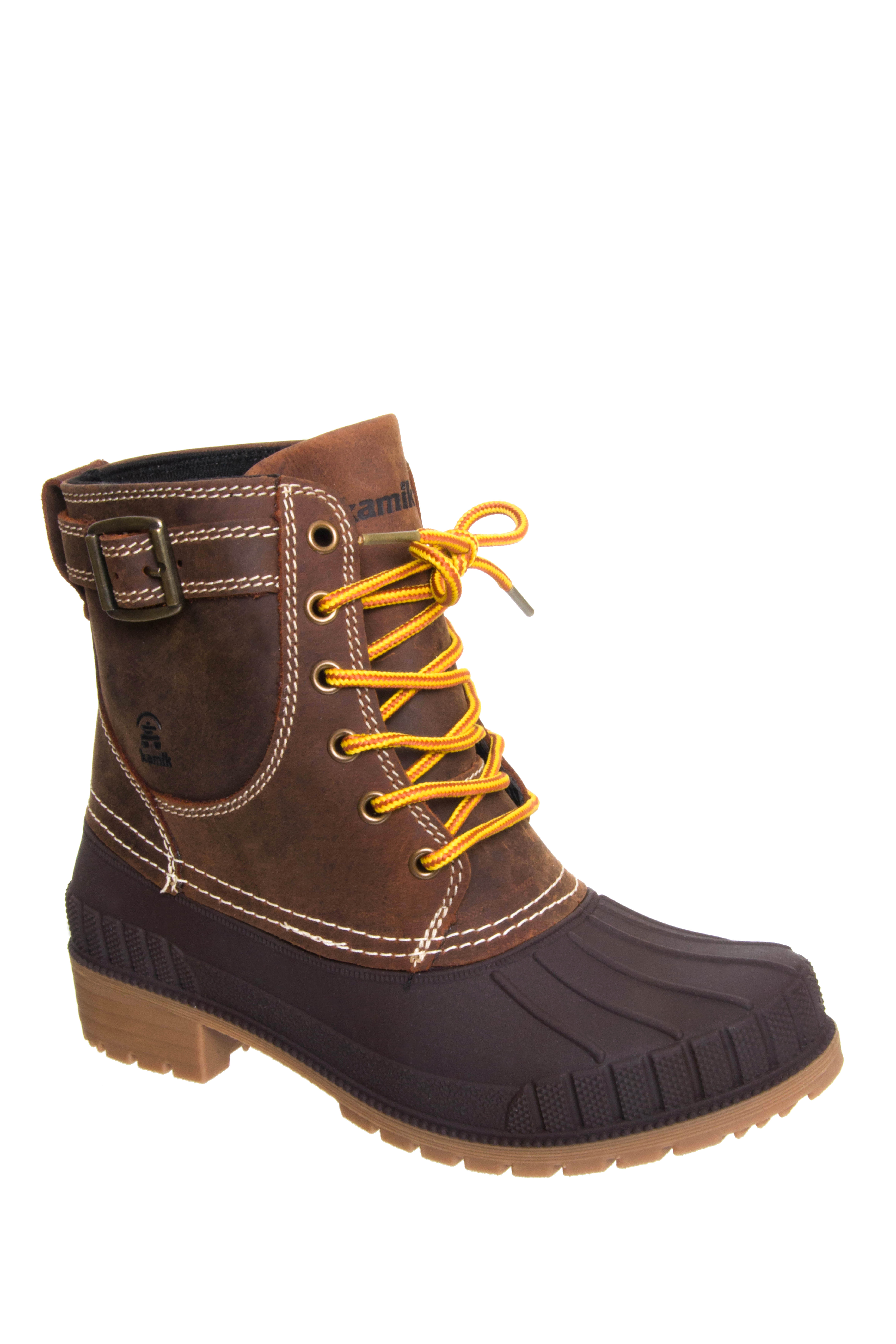 Kamik Evelyn Low Heel Snow Boots - Dark Brown