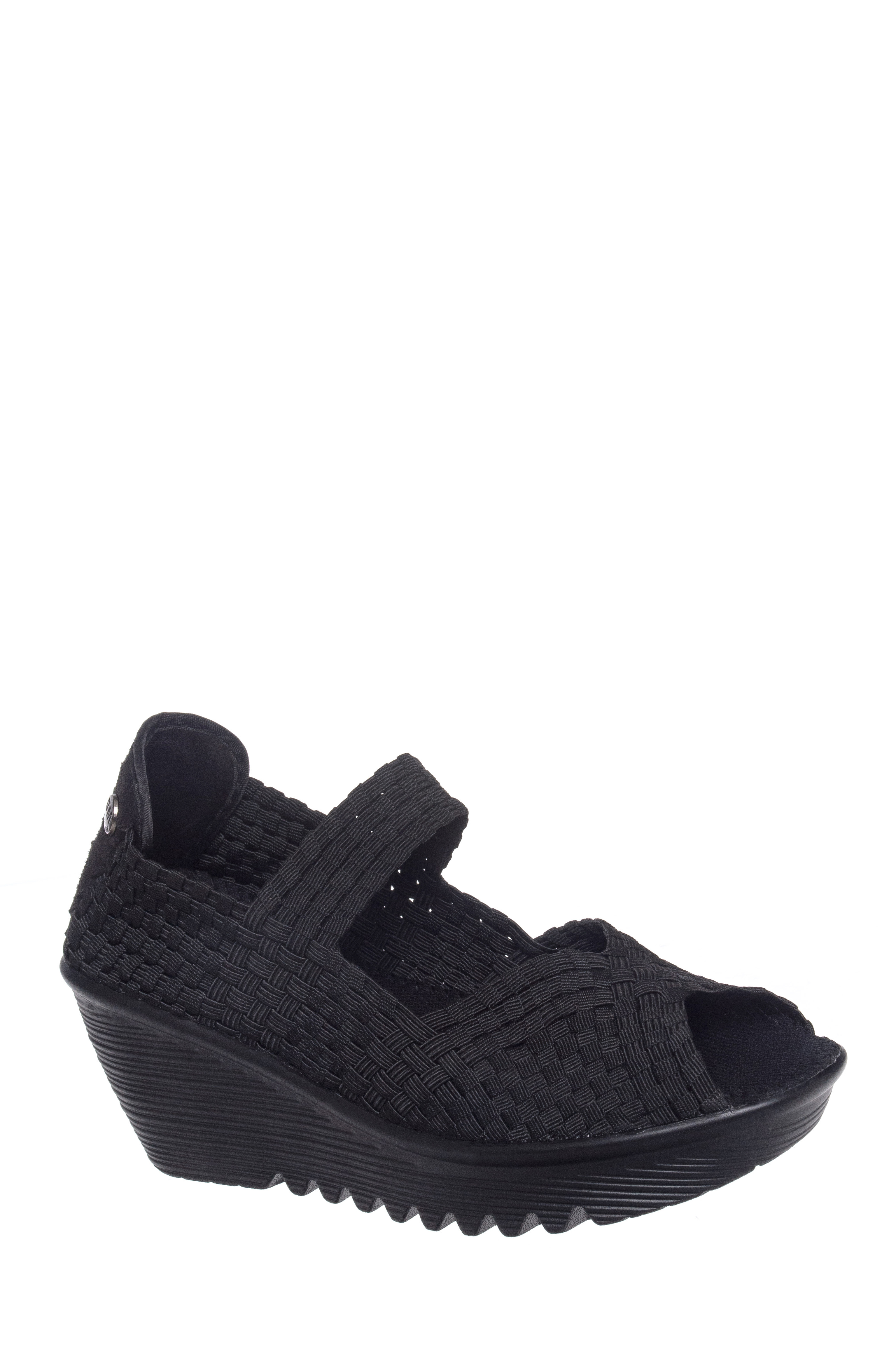 BERNIE MEV Hallie Mid Wedge Peep Toe Sandals - Black