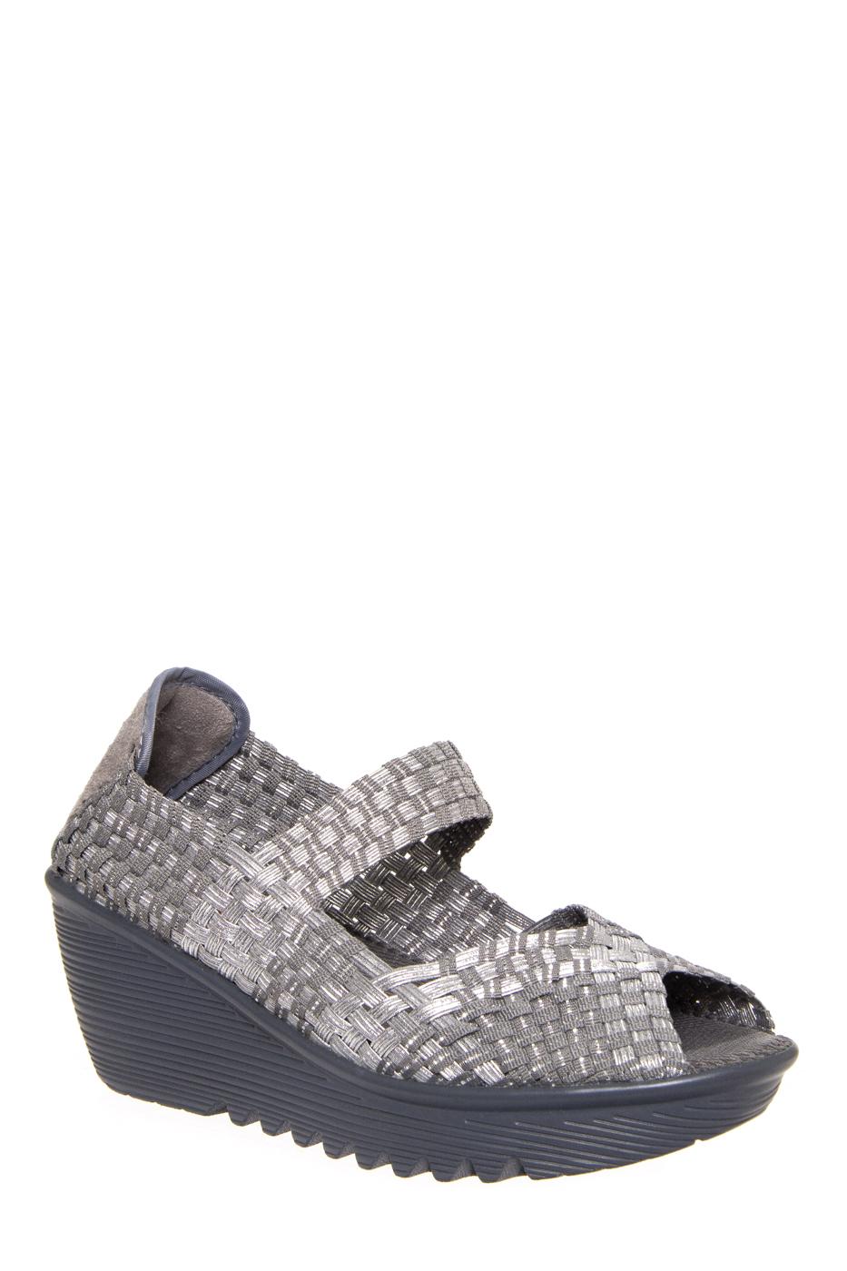 BERNIE MEV Hallie Mid Wedge Peep Toe Sandals - Silver / Grey