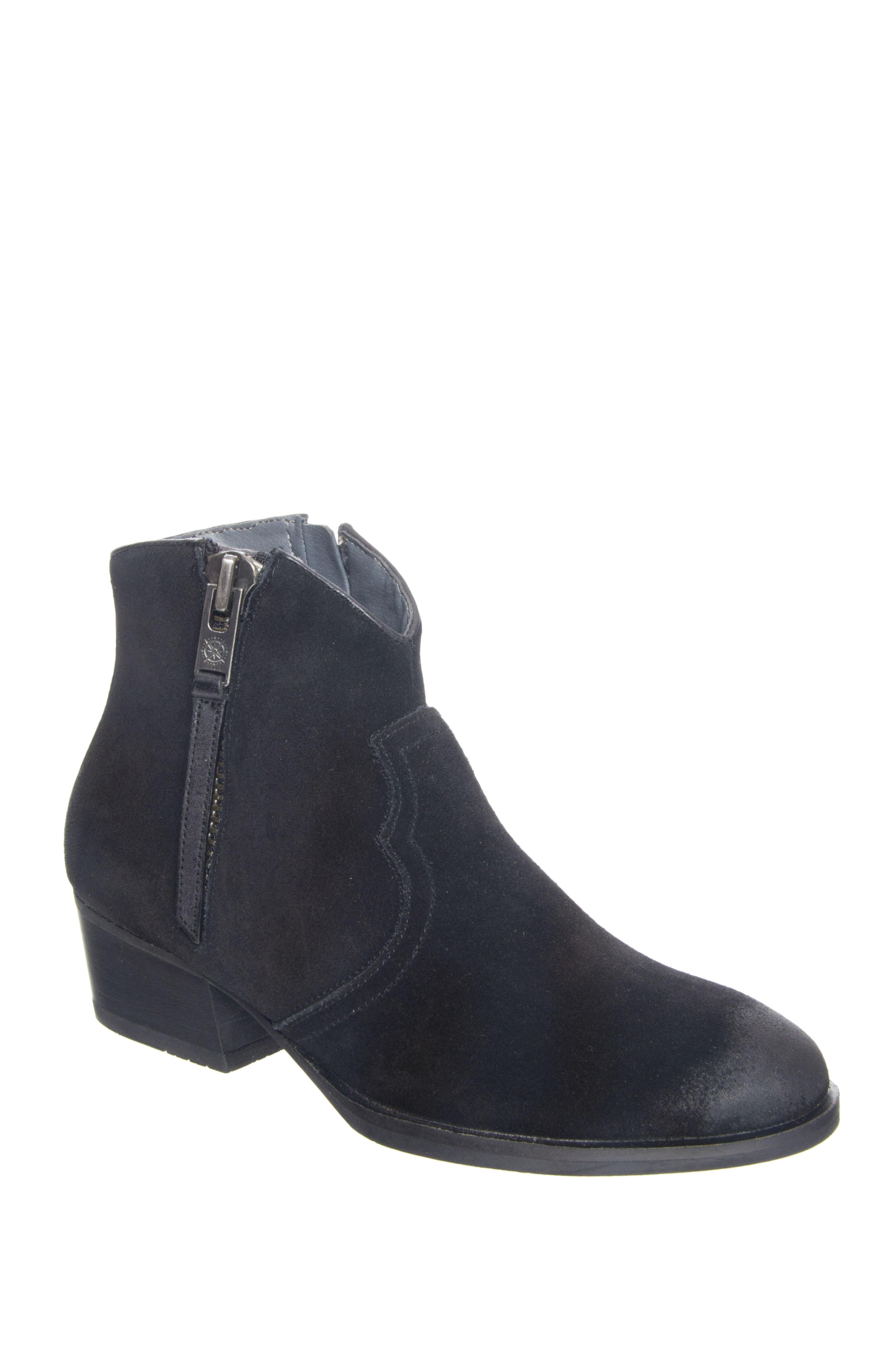 Bussola Annie Mid Heel Booties - Black Suede