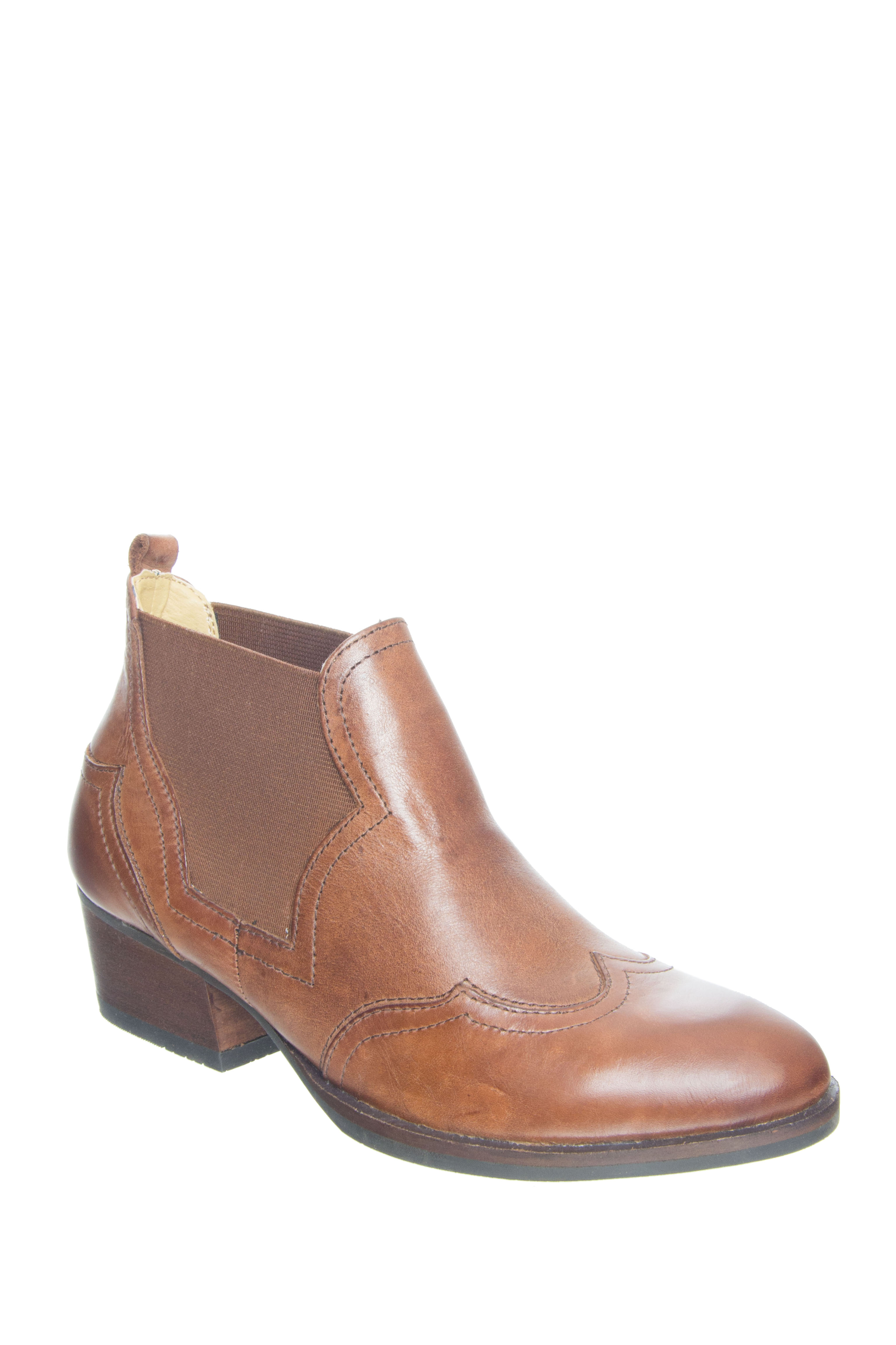 Bussola Alma Mid Heel Booties - Cognac