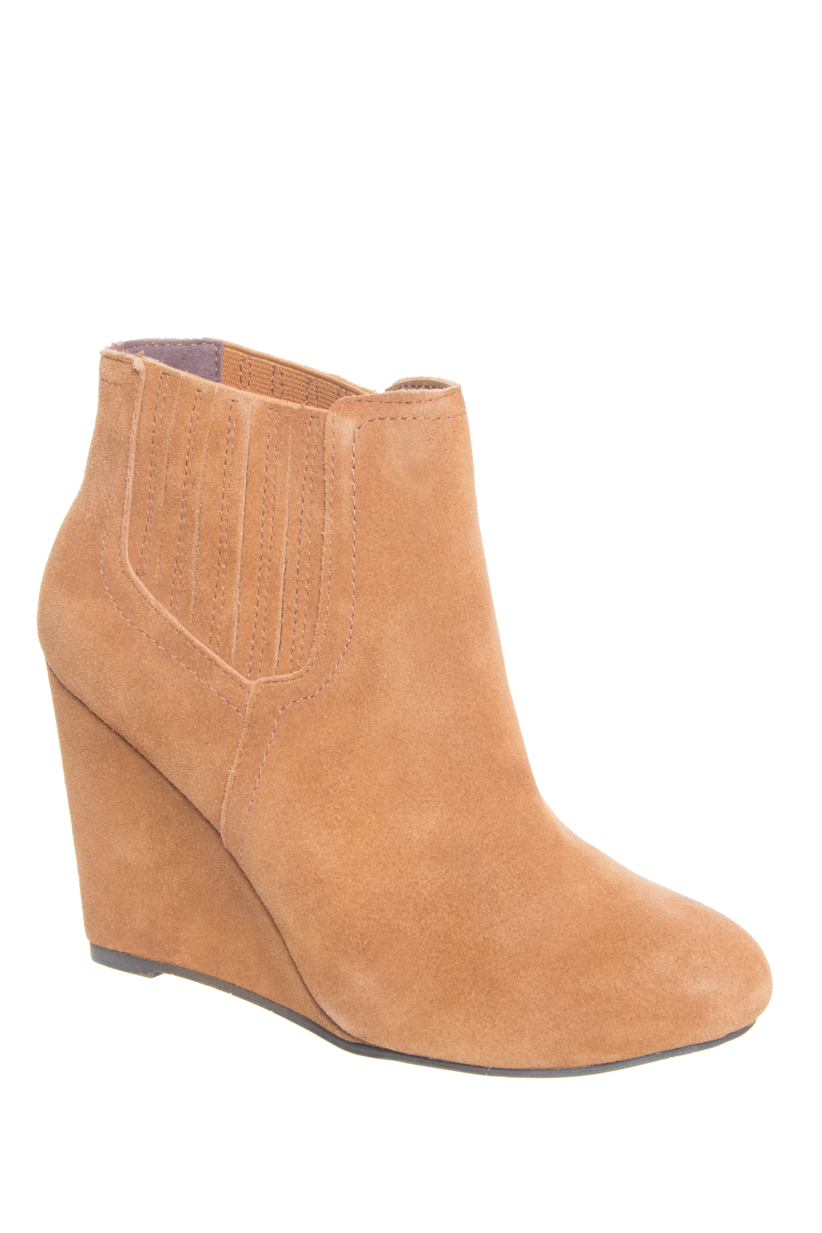 Restricted West Gate Mid Wedge Chelsea Booties - Whiskey Suede