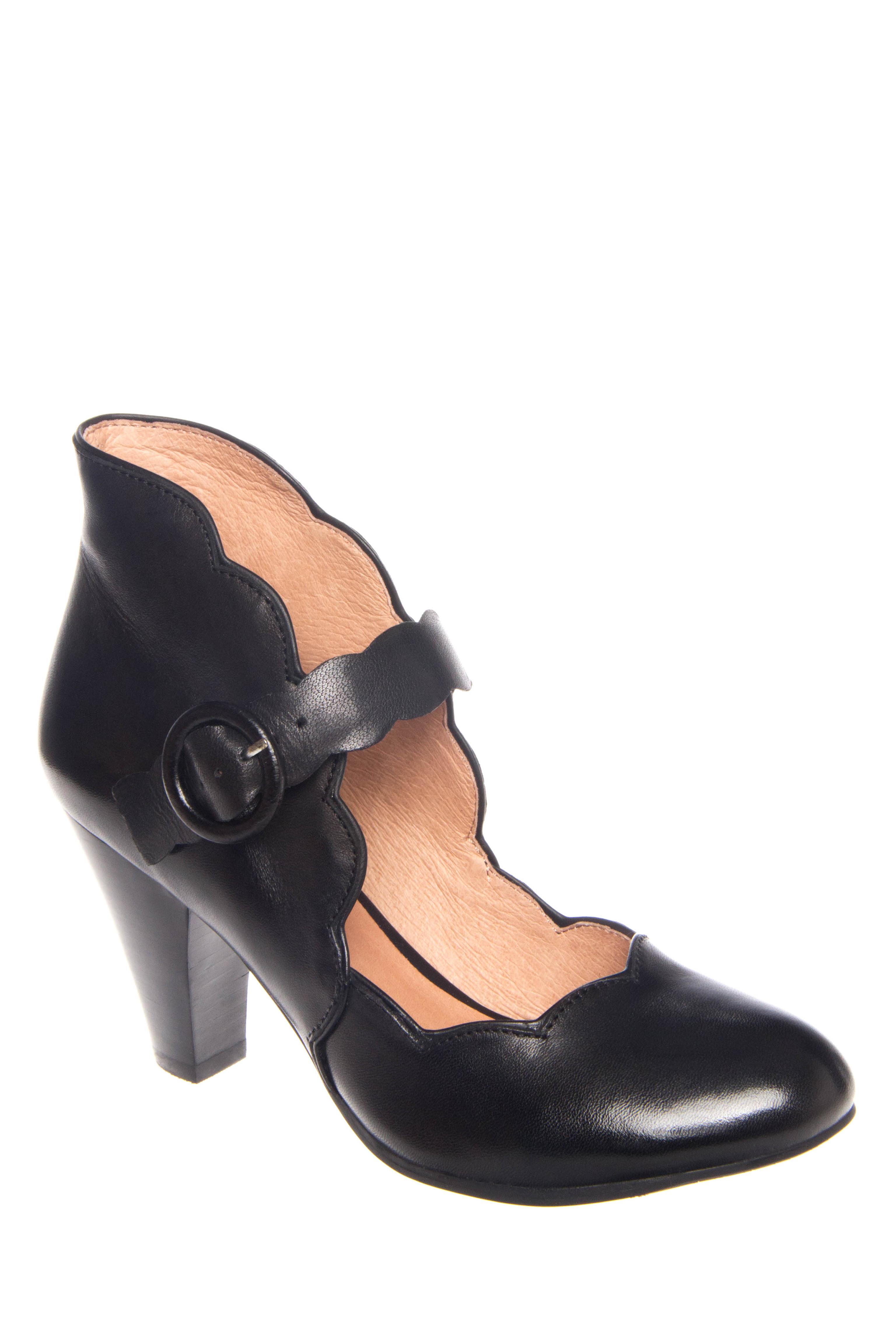 Miz Mooz Carissa Mid Heel Leather Pumps - Black