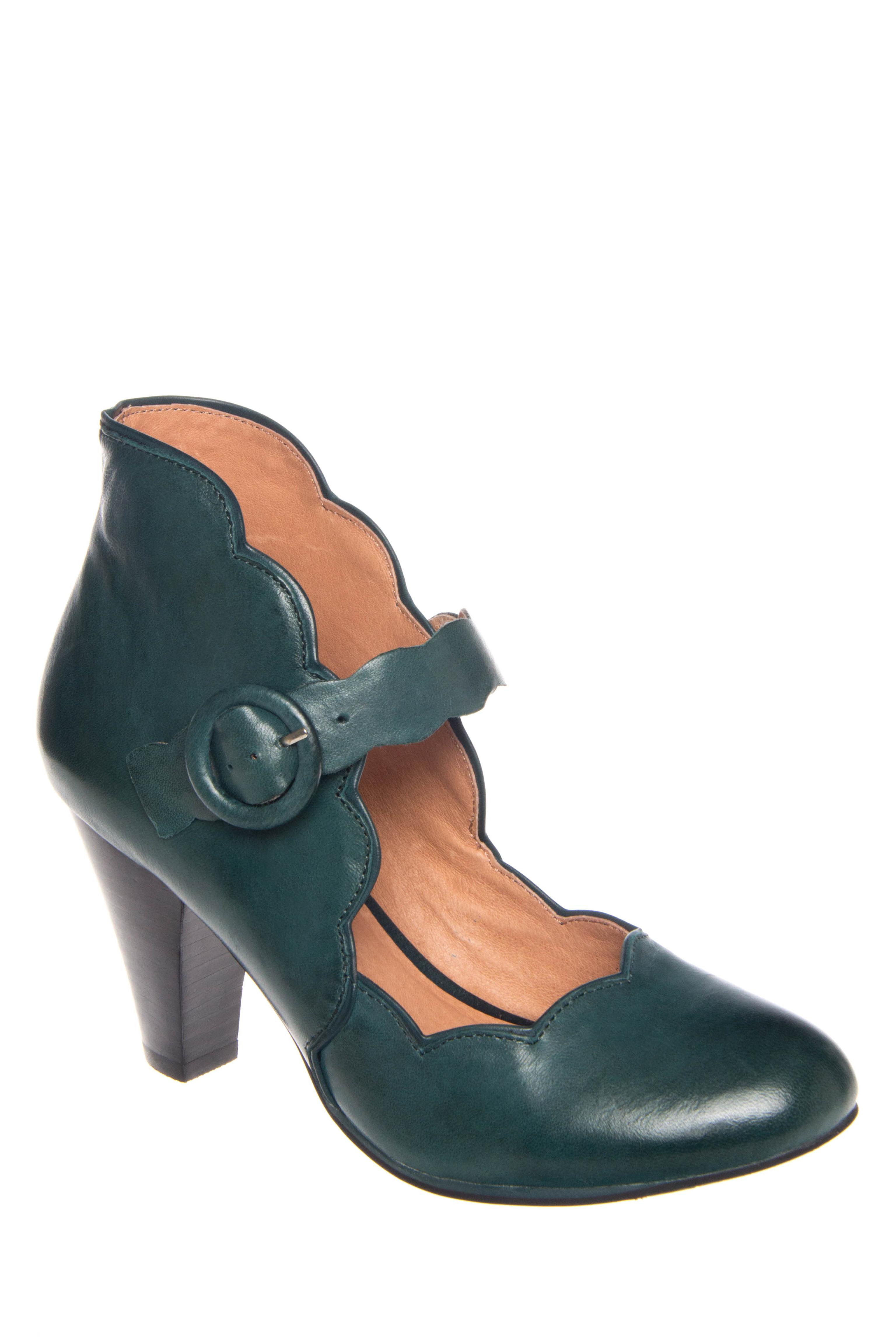 Miz Mooz Carissa Mid Heel Leather Pumps - Teal