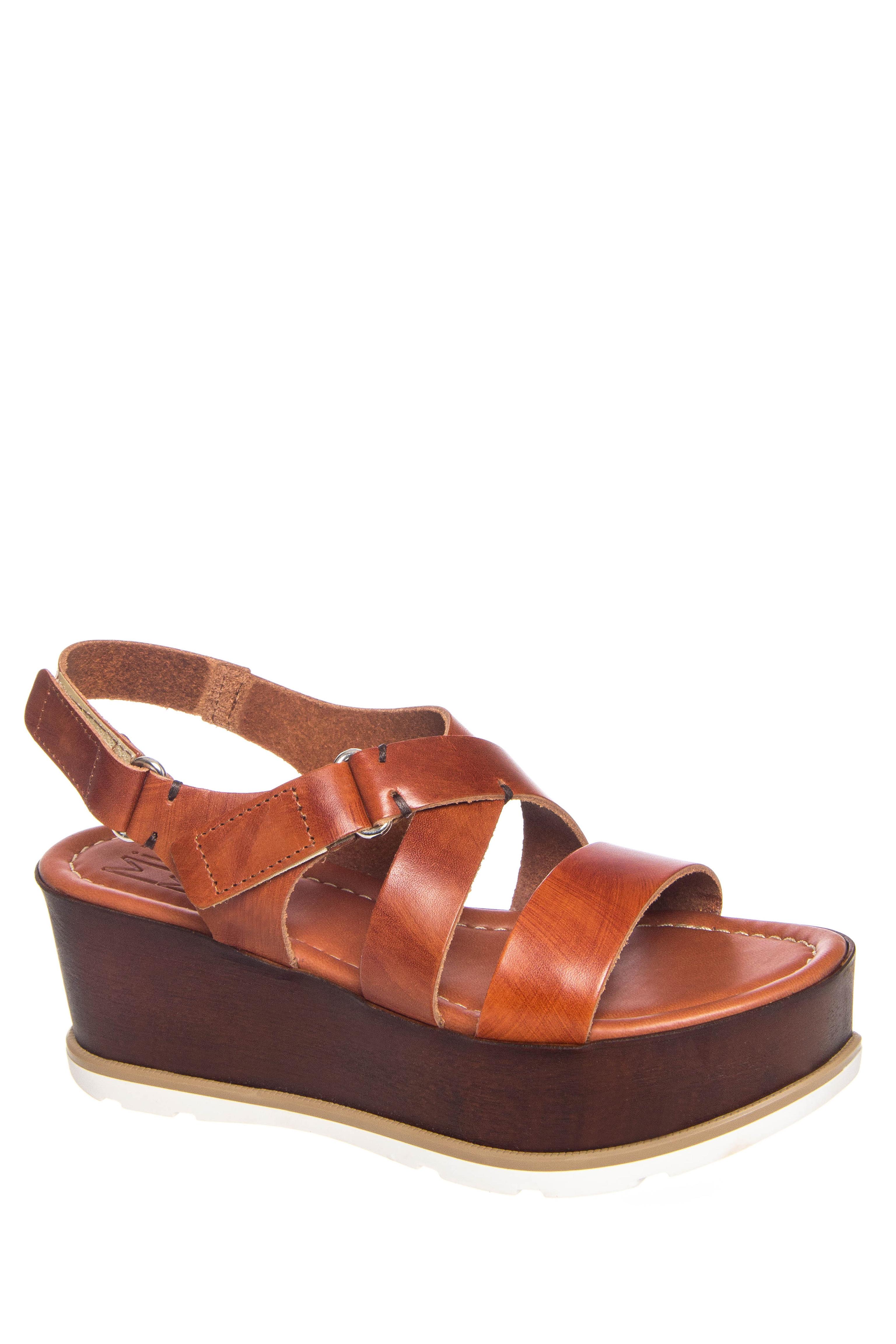 Miz Mooz Jessie Mid Wedge Platform Sandals - Cognac