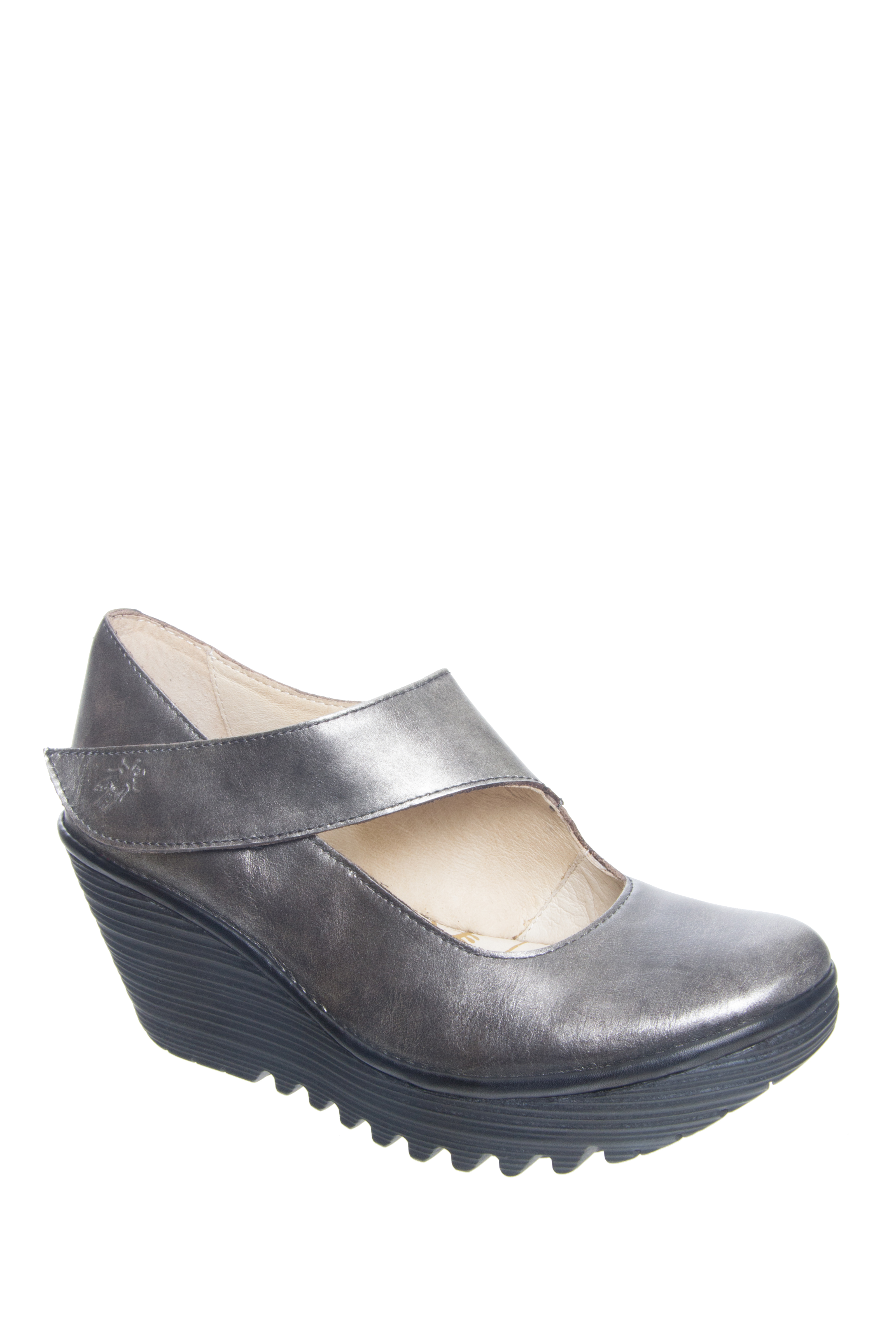 Fly London Yasi Mid Wedge Heels - Antique Silver