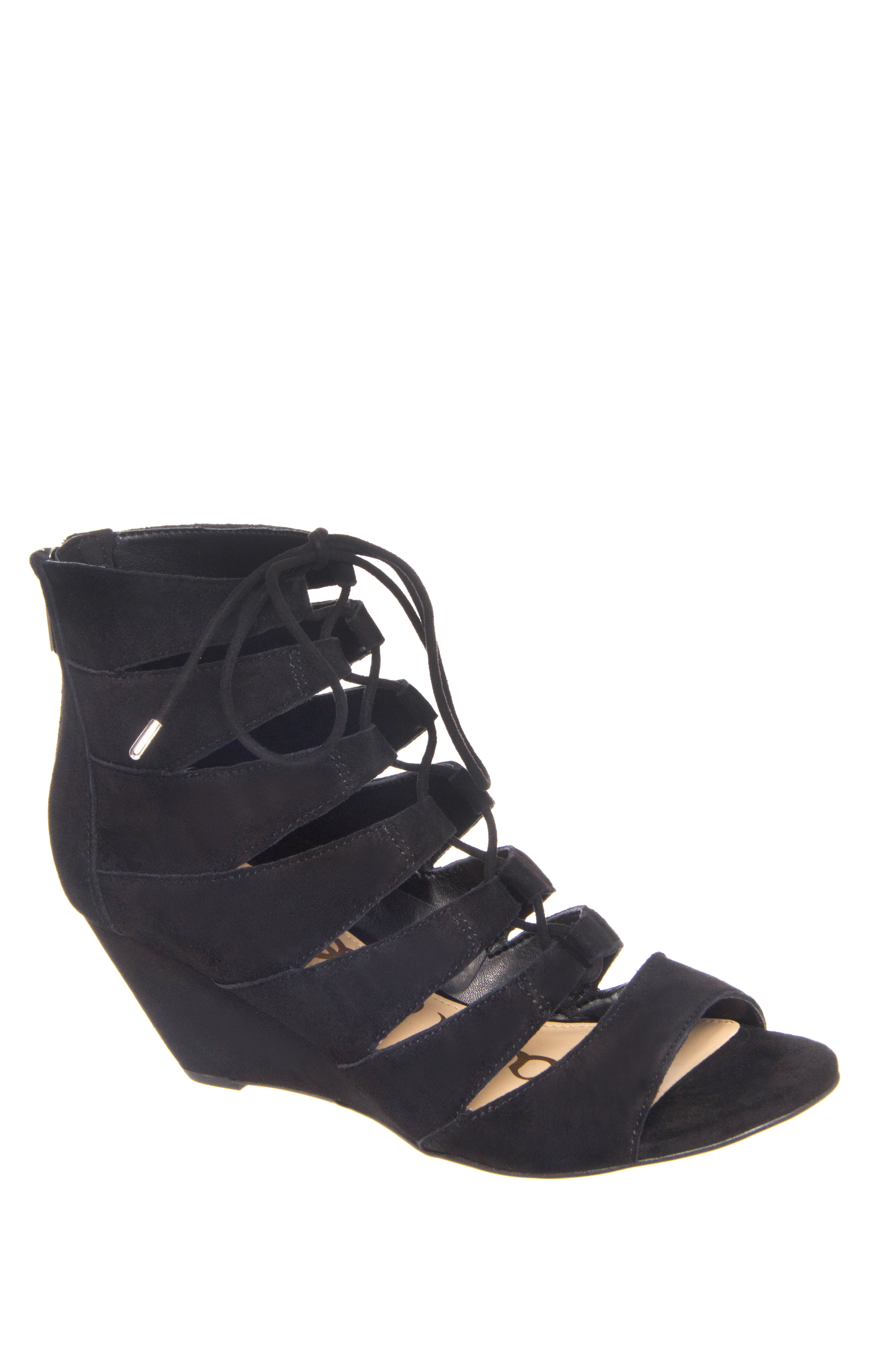 Sam Edelman Santina Mid Wedge Gladiator Sandals - Black