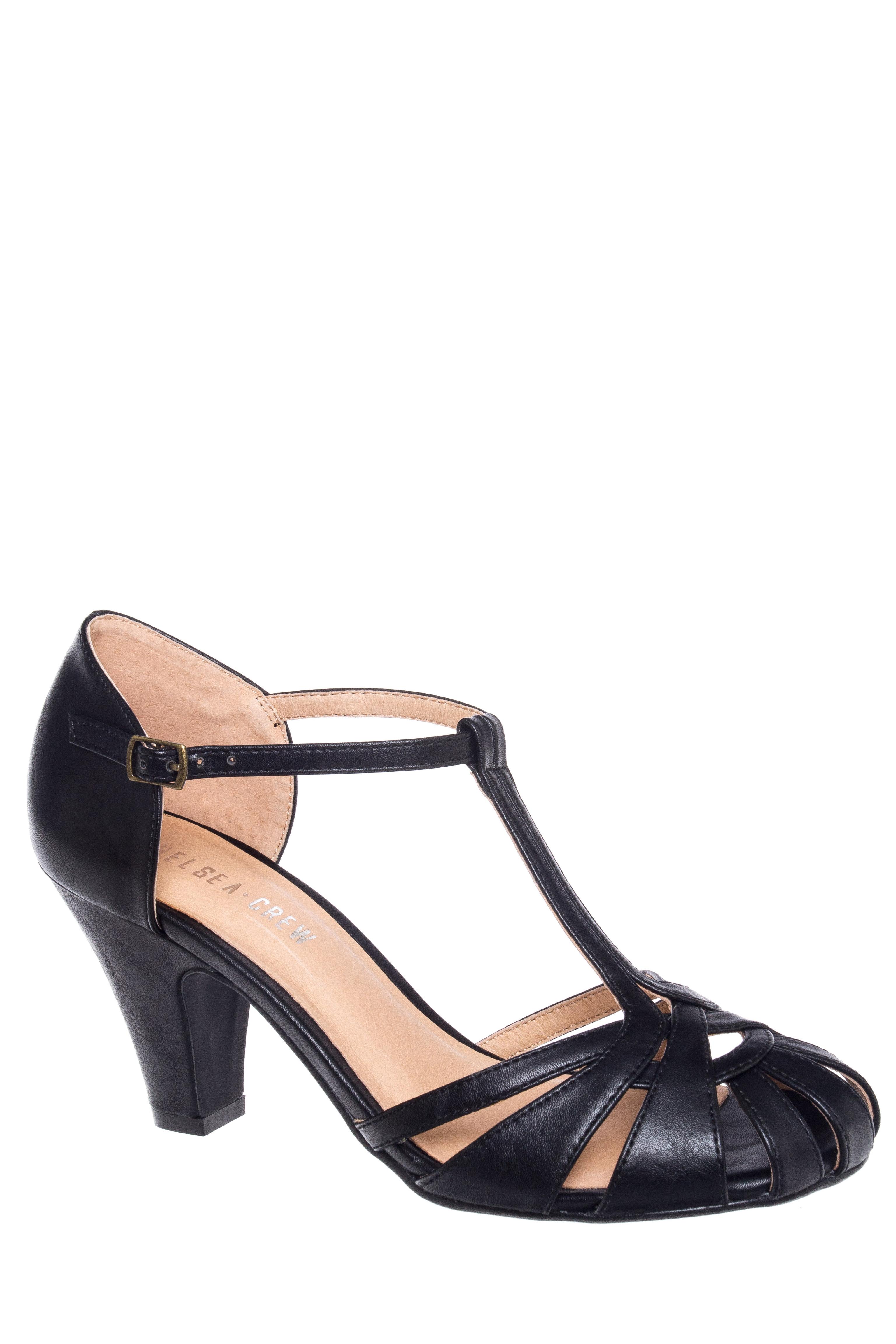 Sergi Ankle Strap Mid Heel Sandal $45.49 AT vintagedancer.com