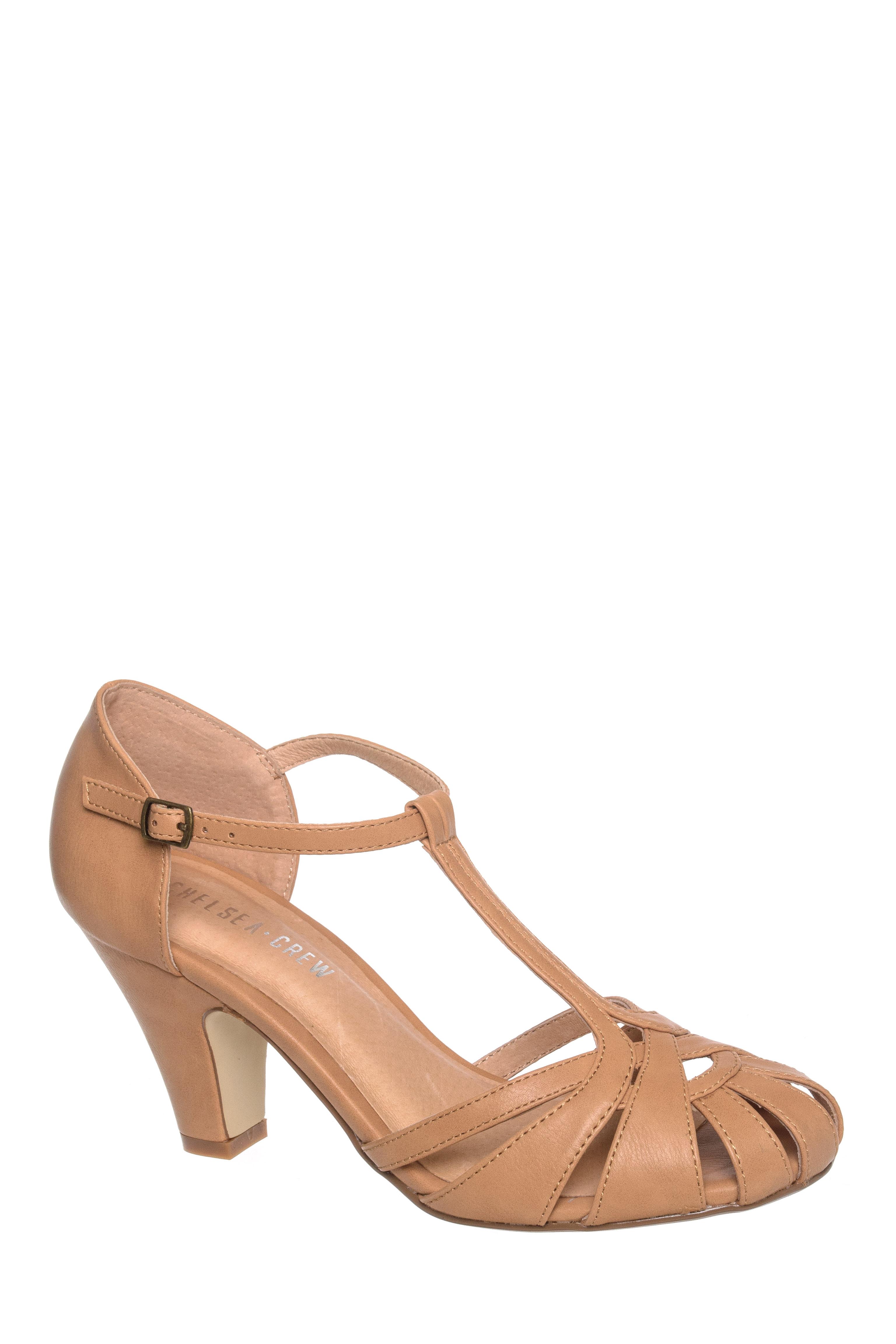 Sergi Mid Heel T-Strap Sandal $45.49 AT vintagedancer.com