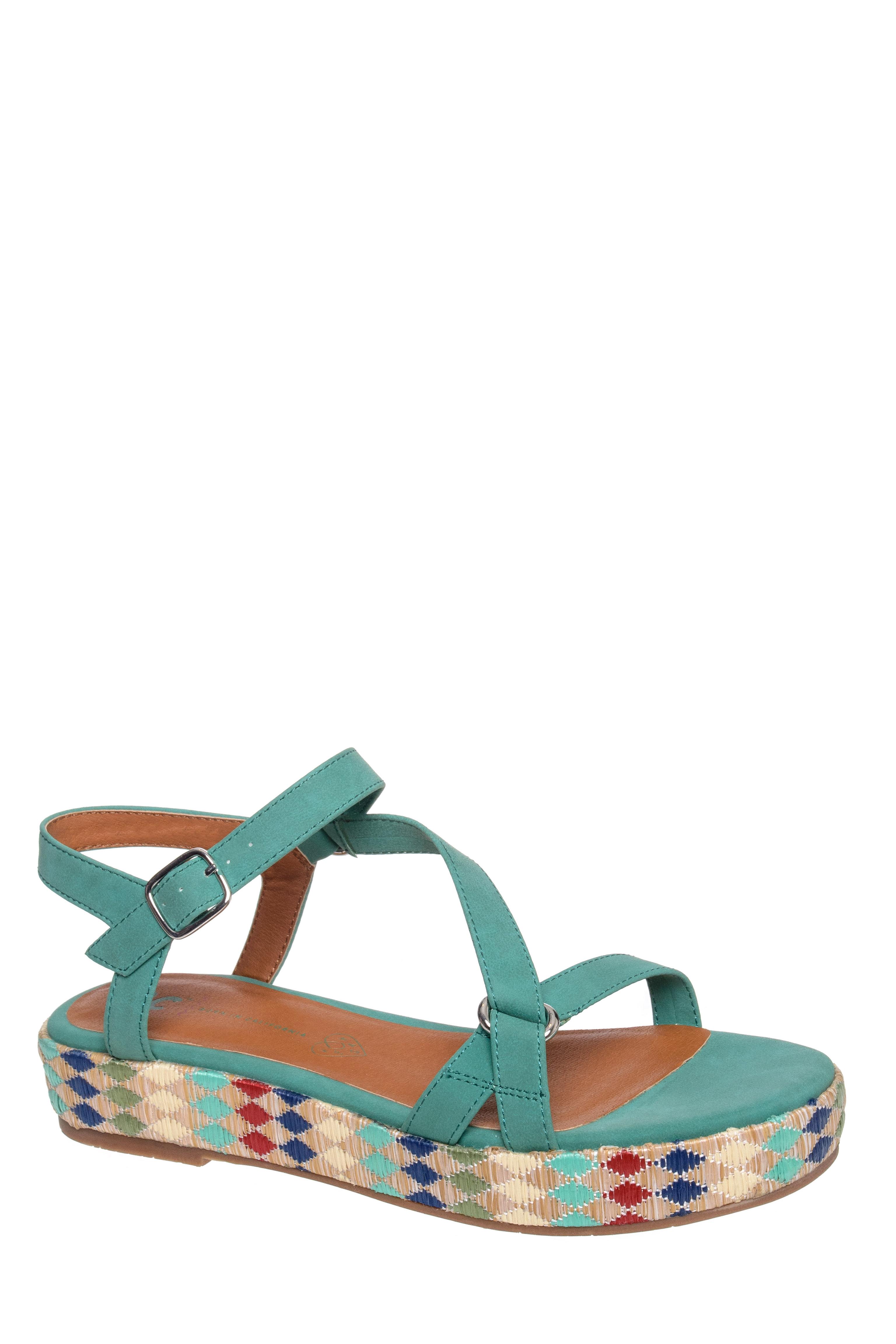 BC Footwear Tuxedo Low Platform Flats Sandals - Green