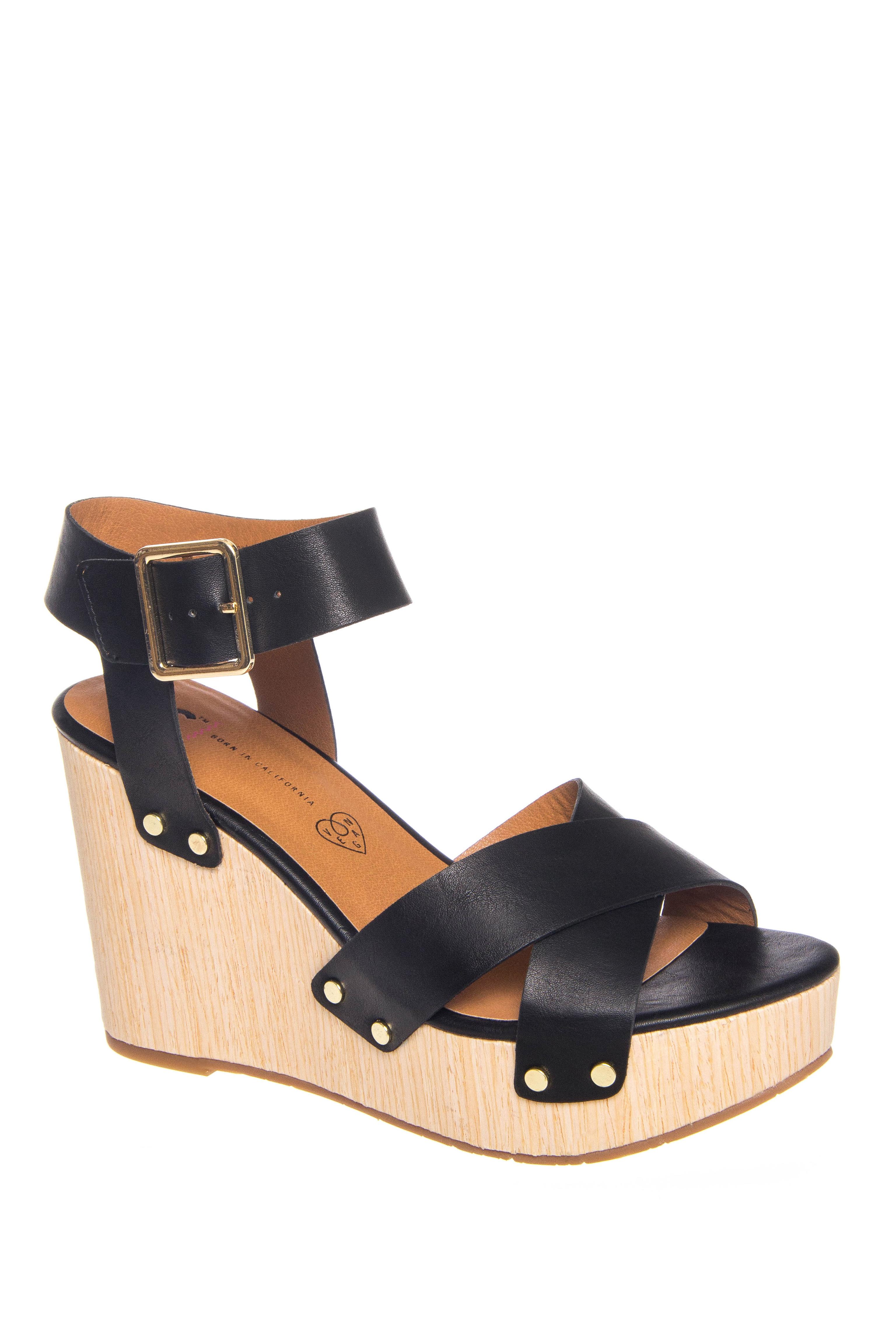 BC Footwear Teeny High Wedge Platform Sandals - Black