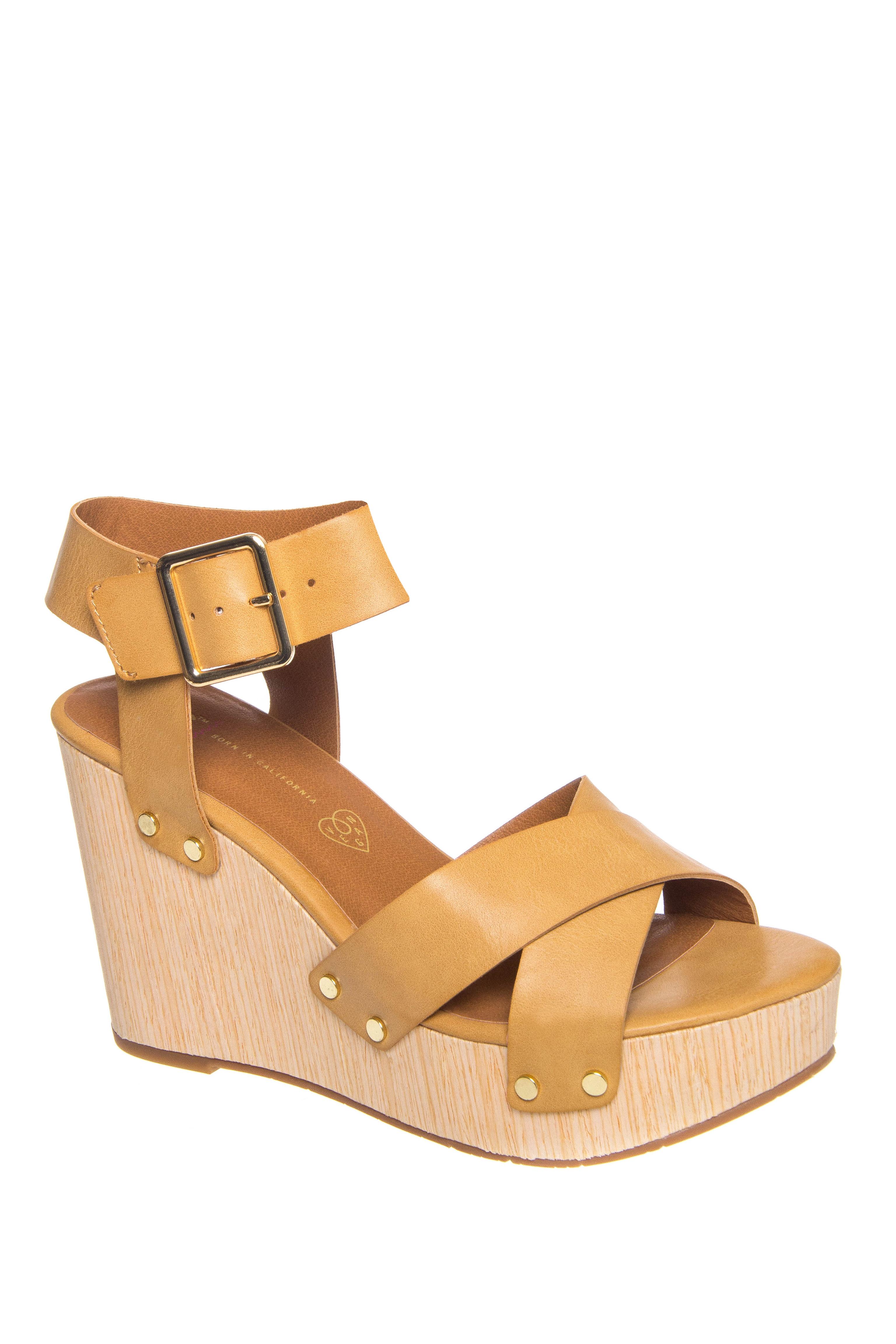 BC Footwear Teeny High Wedge Platform Sandals - Tan