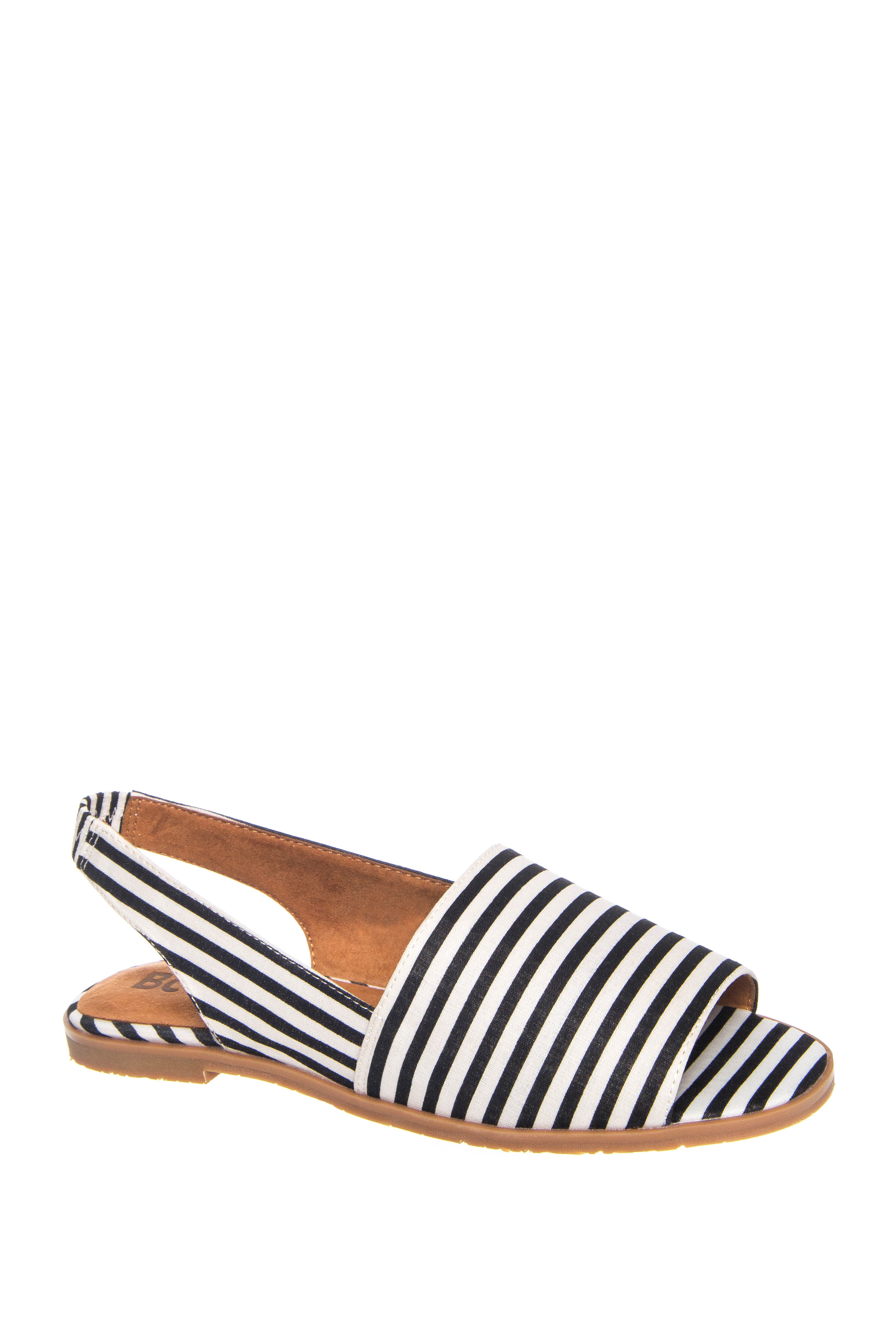 BC Footwear Shot In The Dark Peep Toe Slingback Flats - Black / White