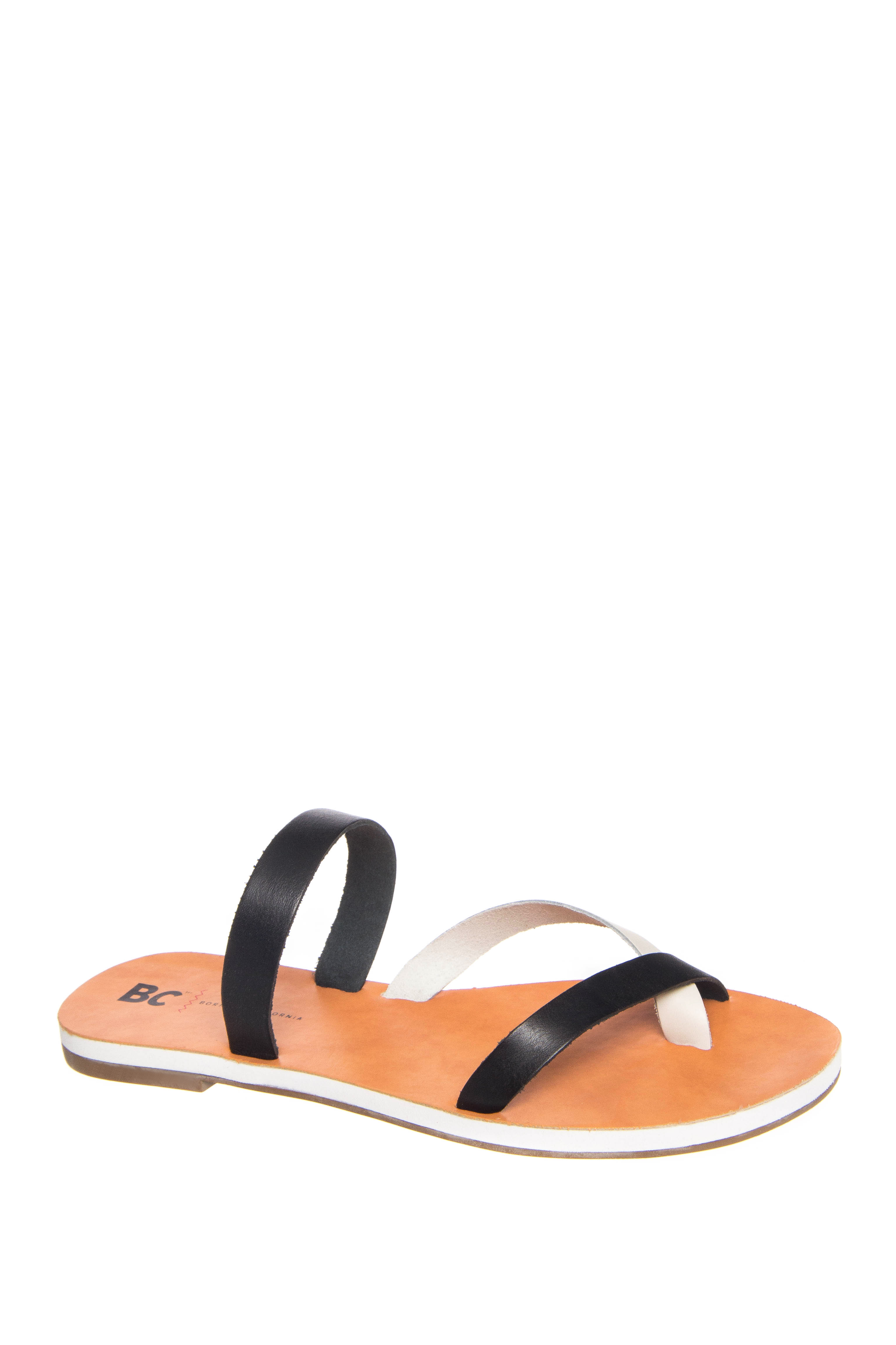 BC Footwear Tiny Flats Sandals - Black / White