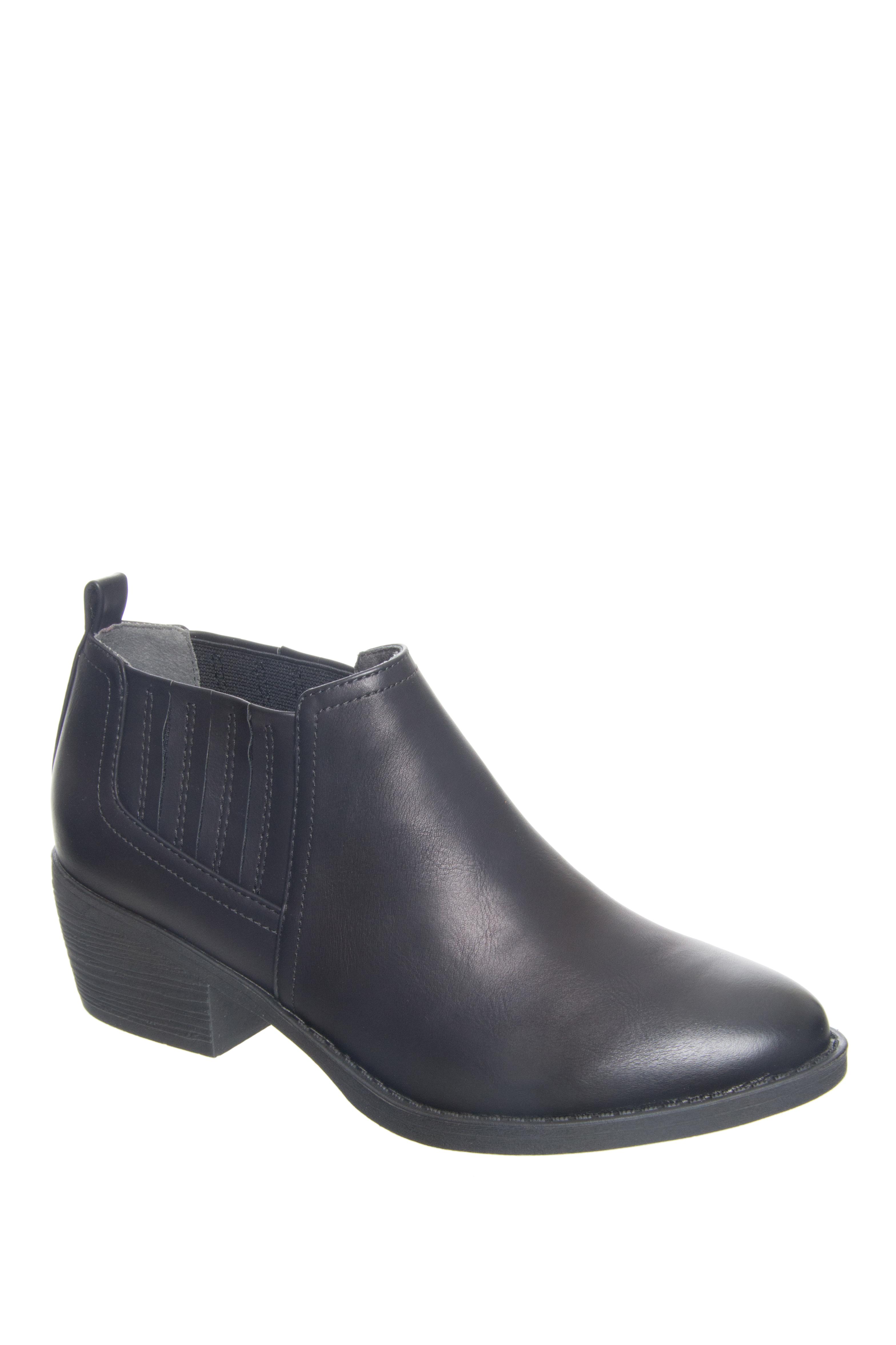 BC Footwear Angel Low Heel Slip-On Booties - Black