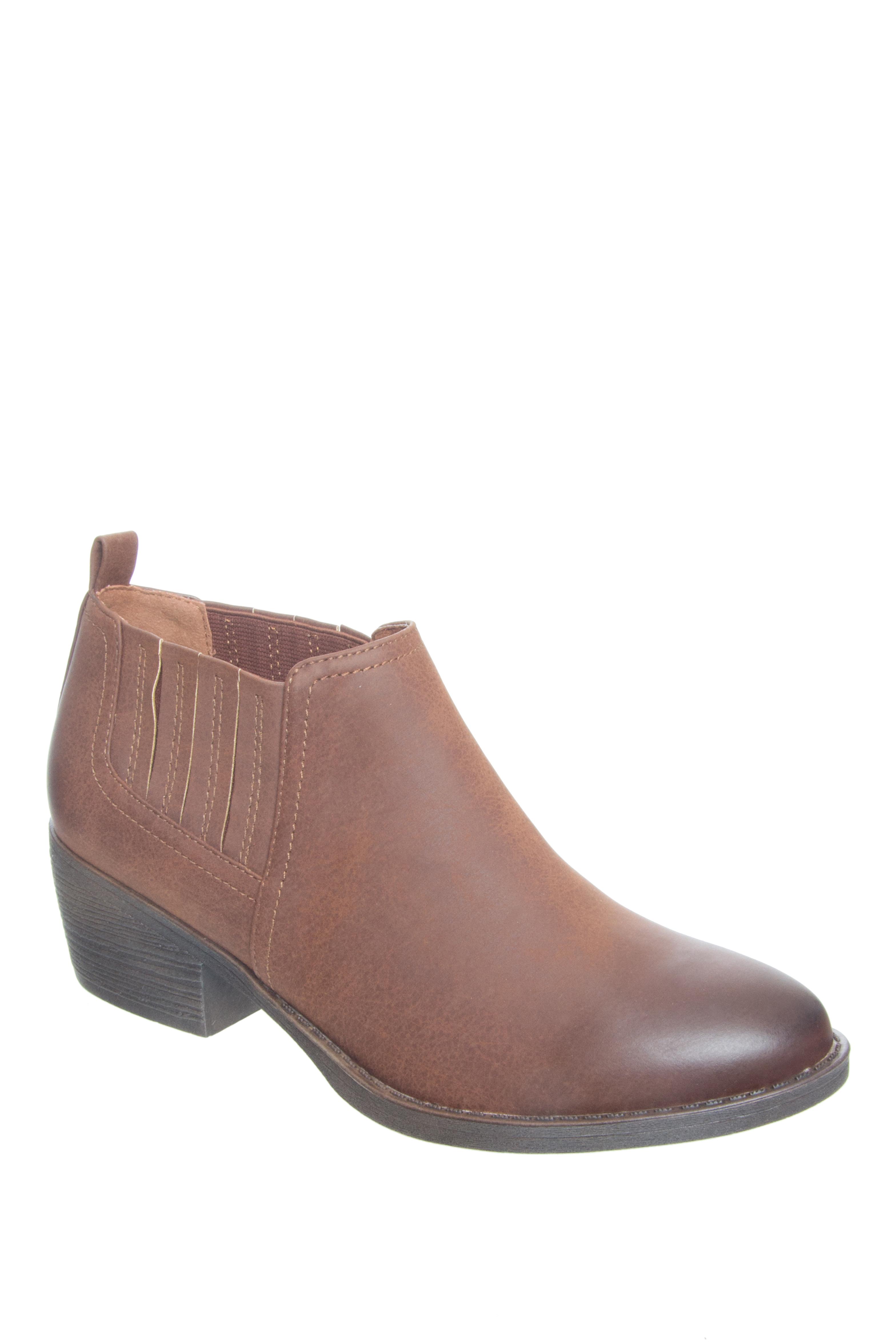 BC Footwear Angel Low Heel Slip-On Booties - Cognac