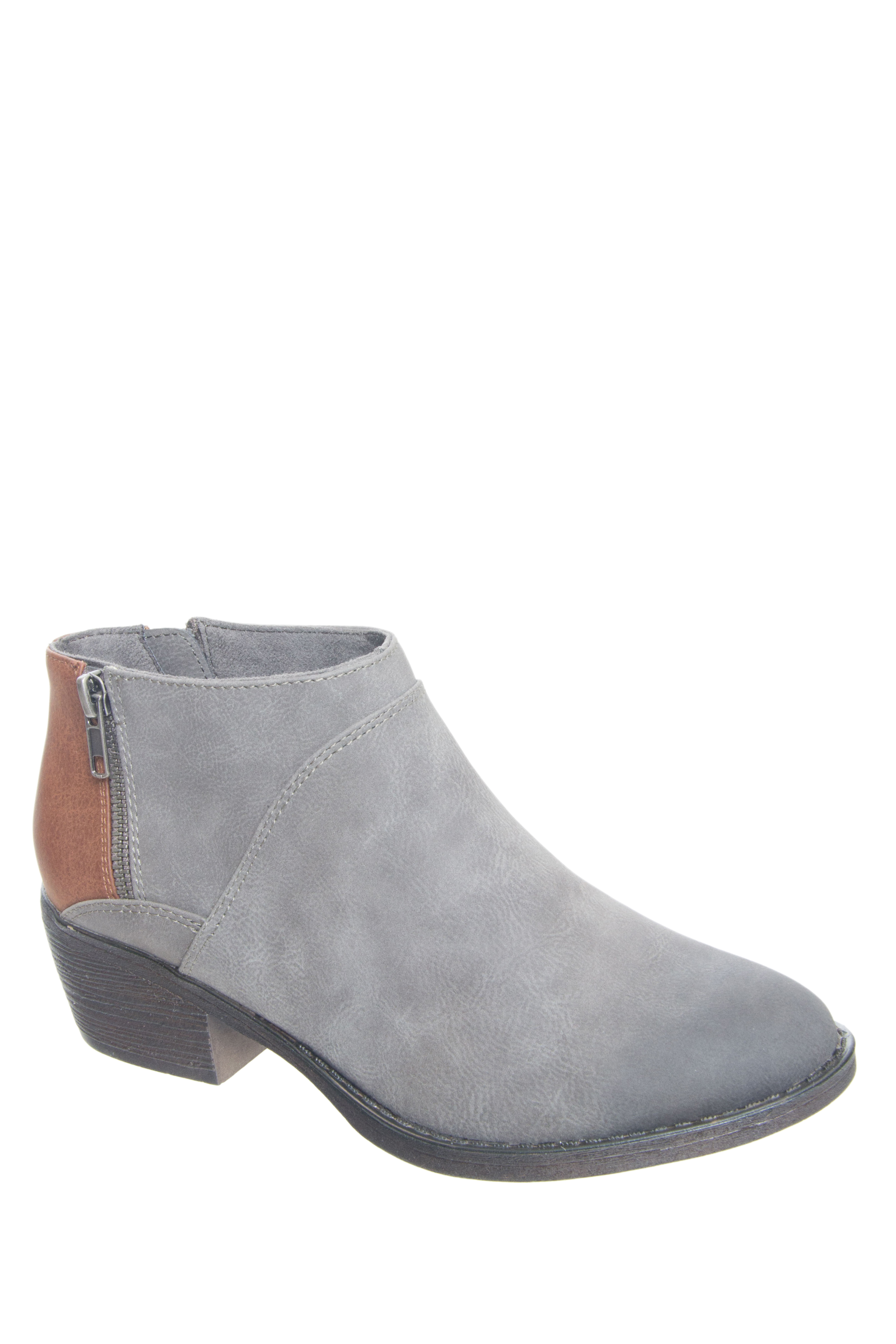 BC Footwear Union Mid Heel Booties - Grey / Whiskey