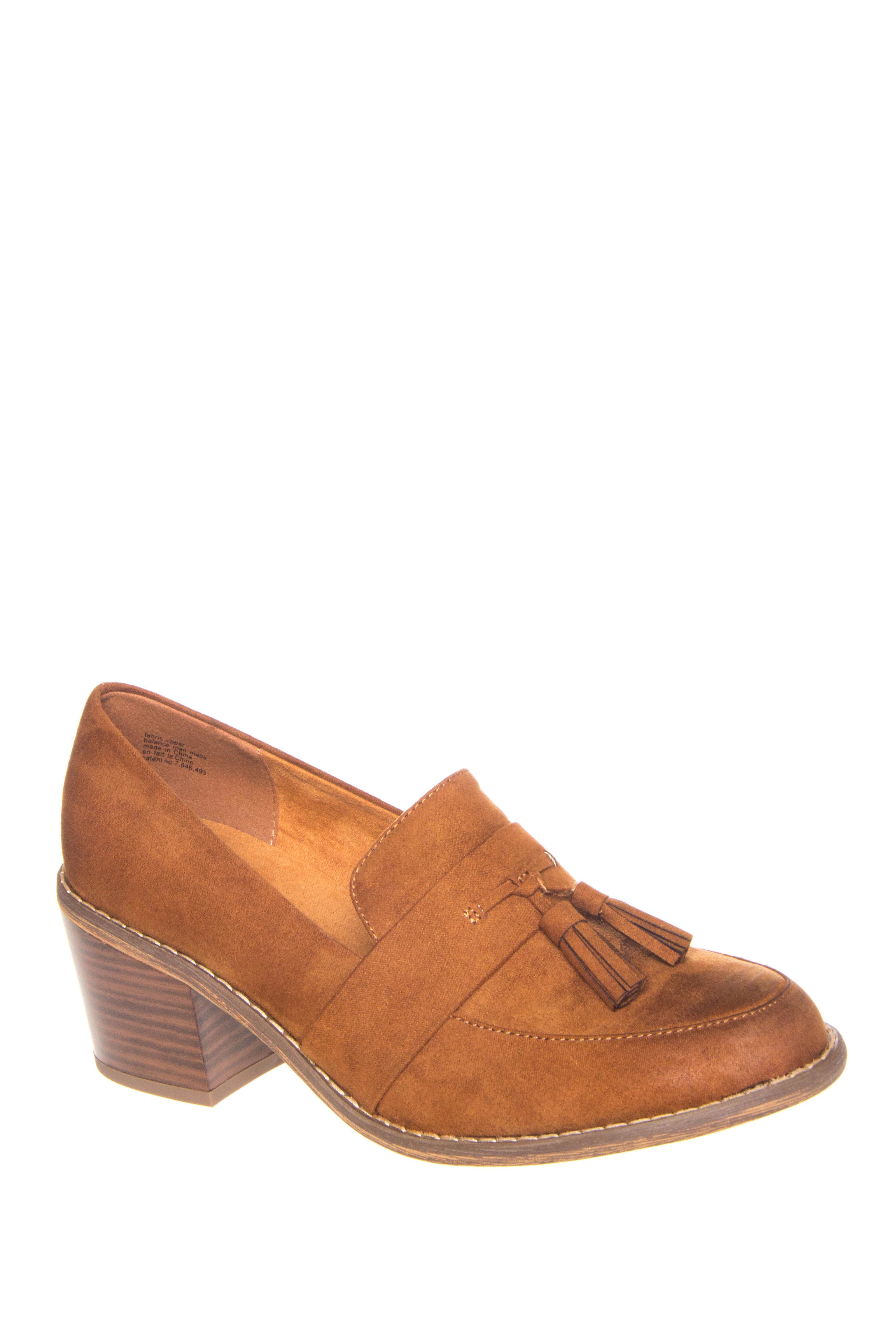 BC Footwear Radiate Mid Heel Loafers - Whiskey Brown