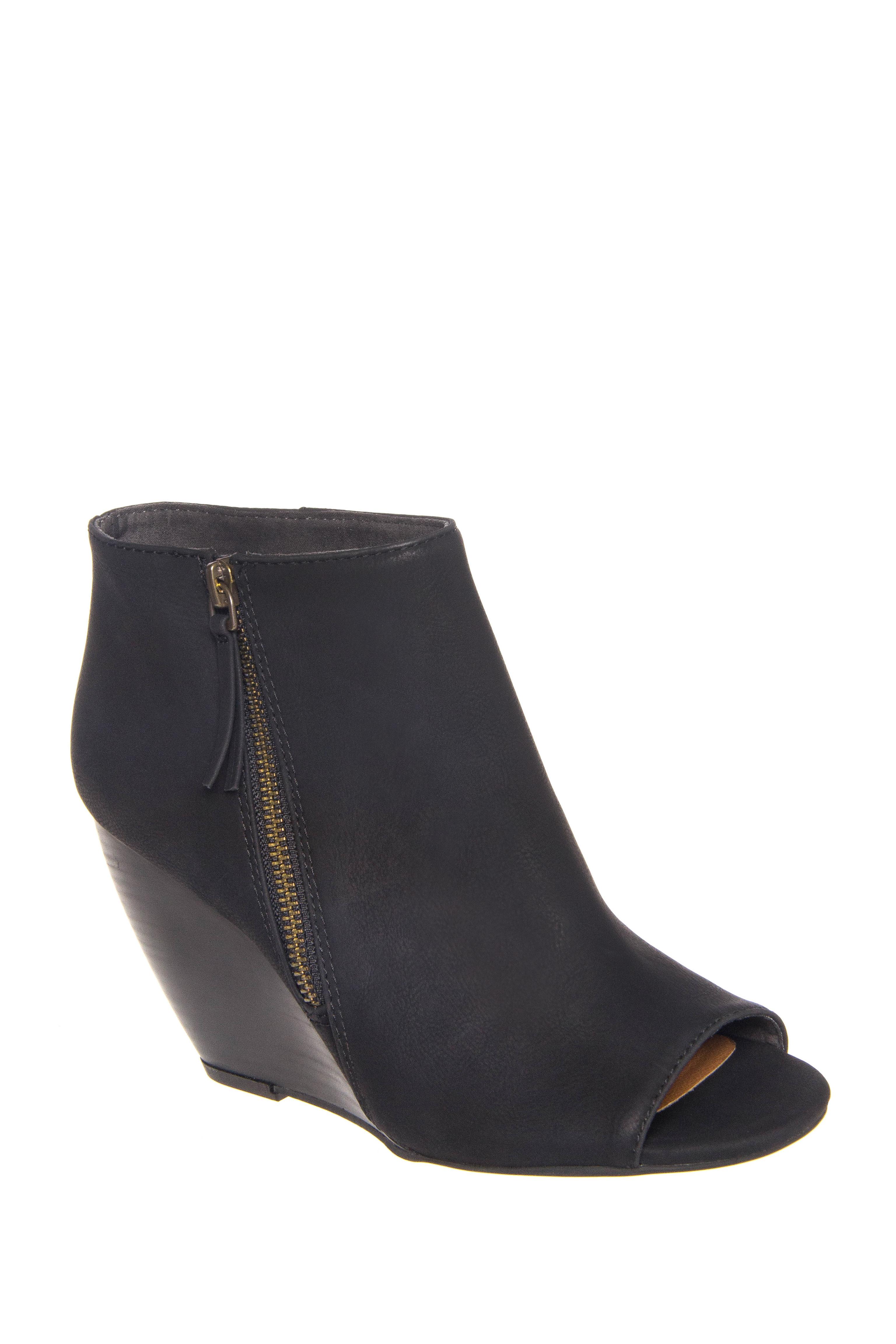 BC Footwear Rebellion II High Wedge Peep Toe Booties - Black