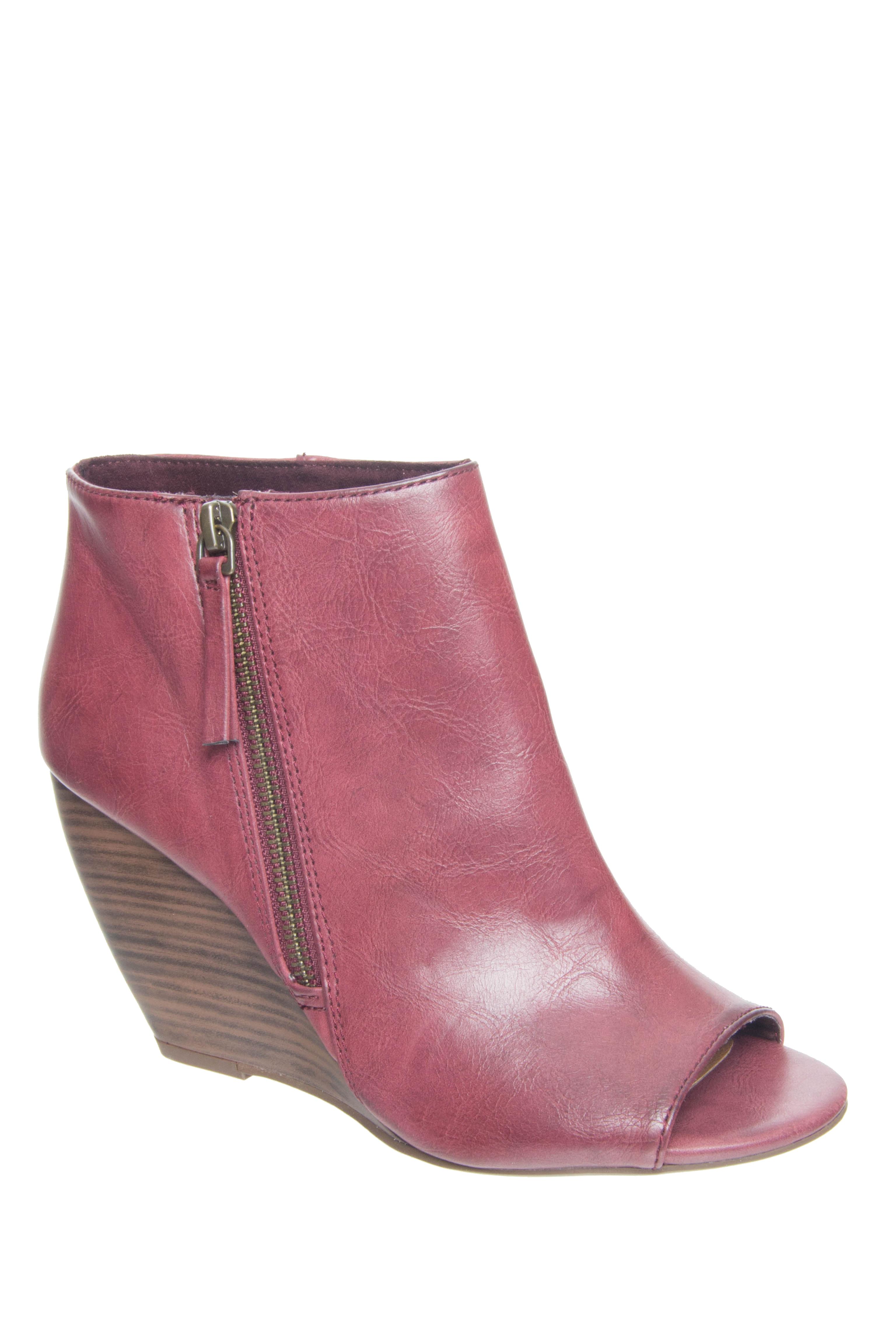 BC Footwear Rebellion II High Wedge Peep Toe Booties - Burgundy