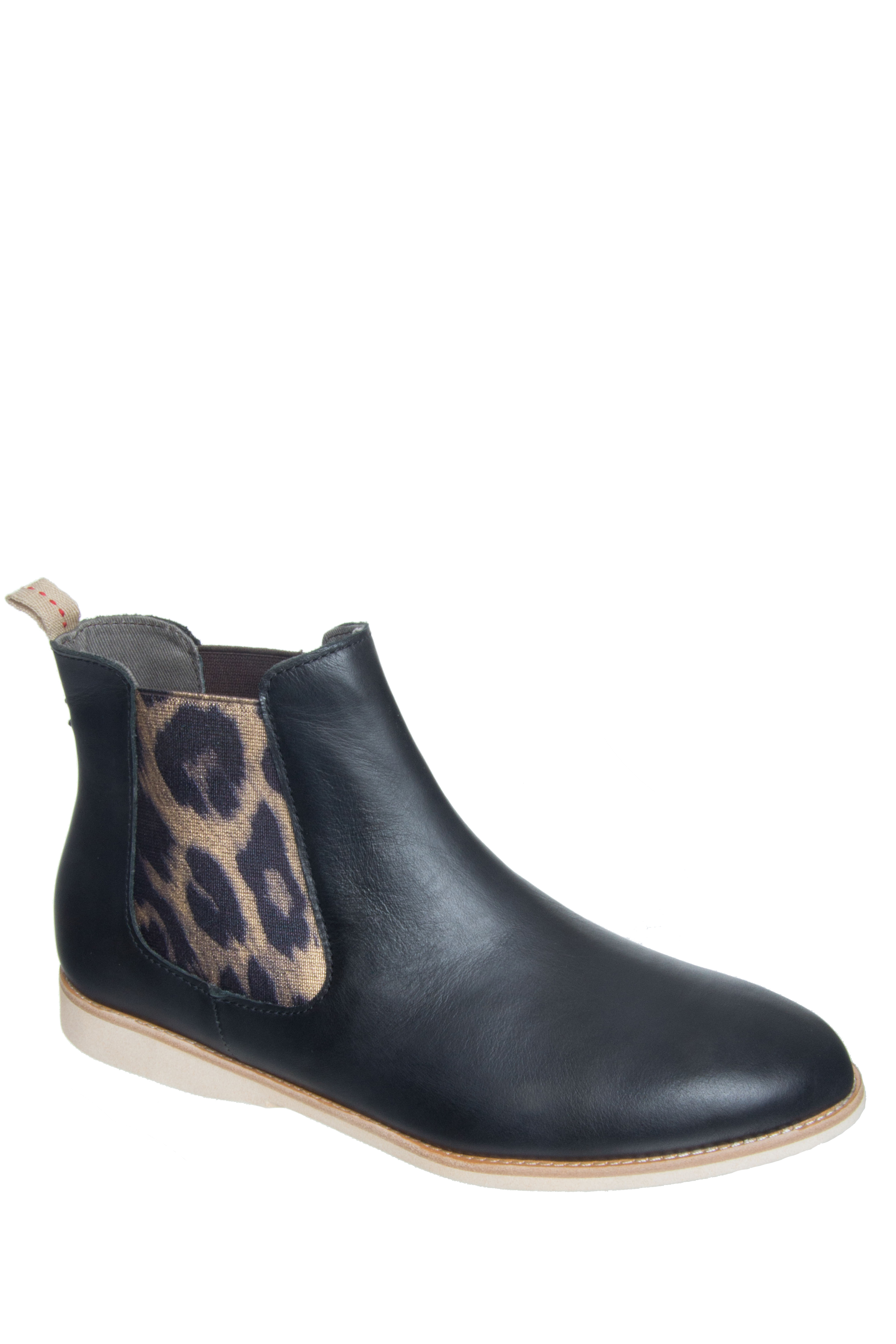 Rollie Nation Unisex Chelsea Low Heel Boots - Black / Gold Leopard
