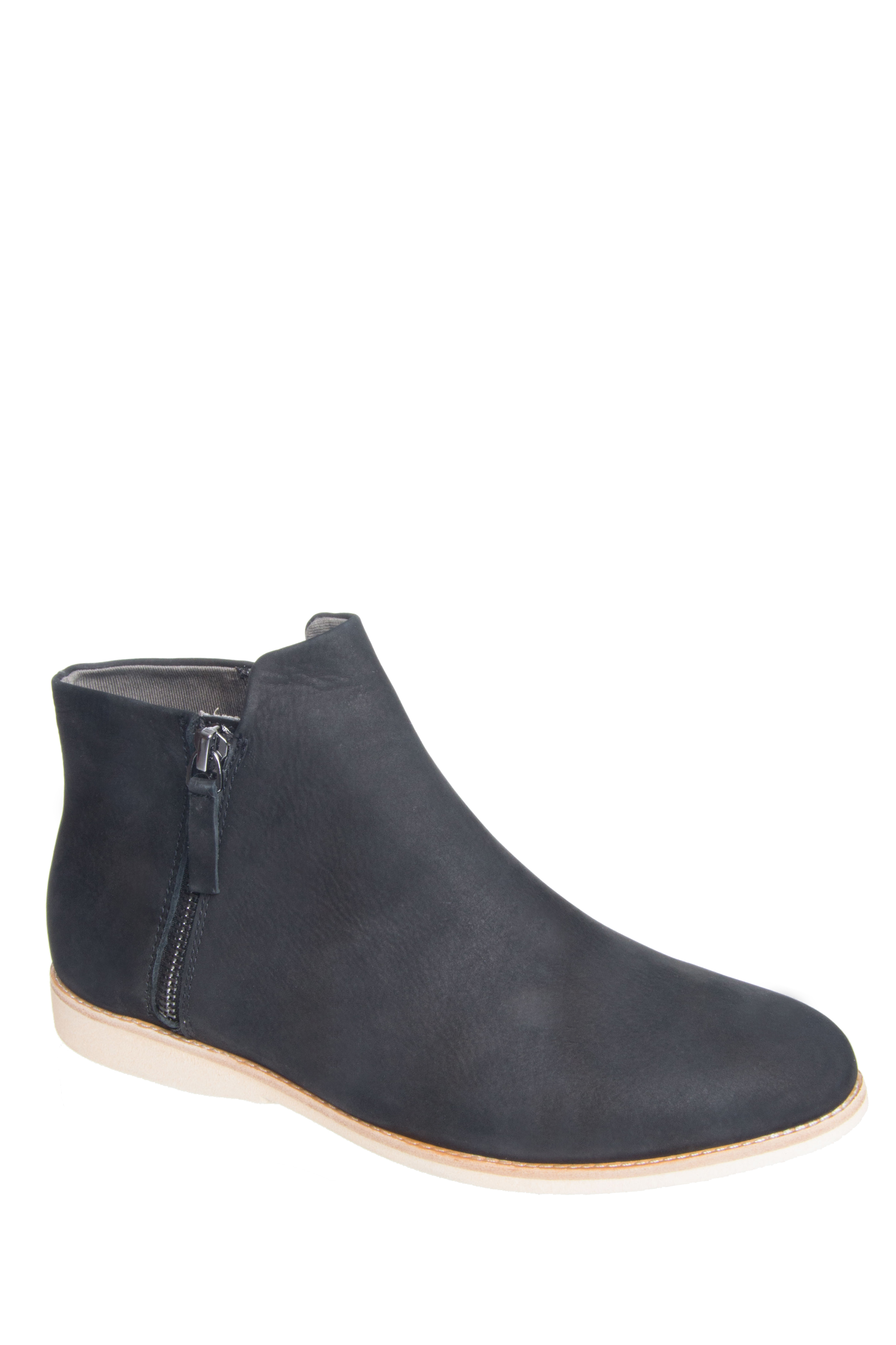 Rollie Nation Side Zip Low Heel Booties - Black Nubuck