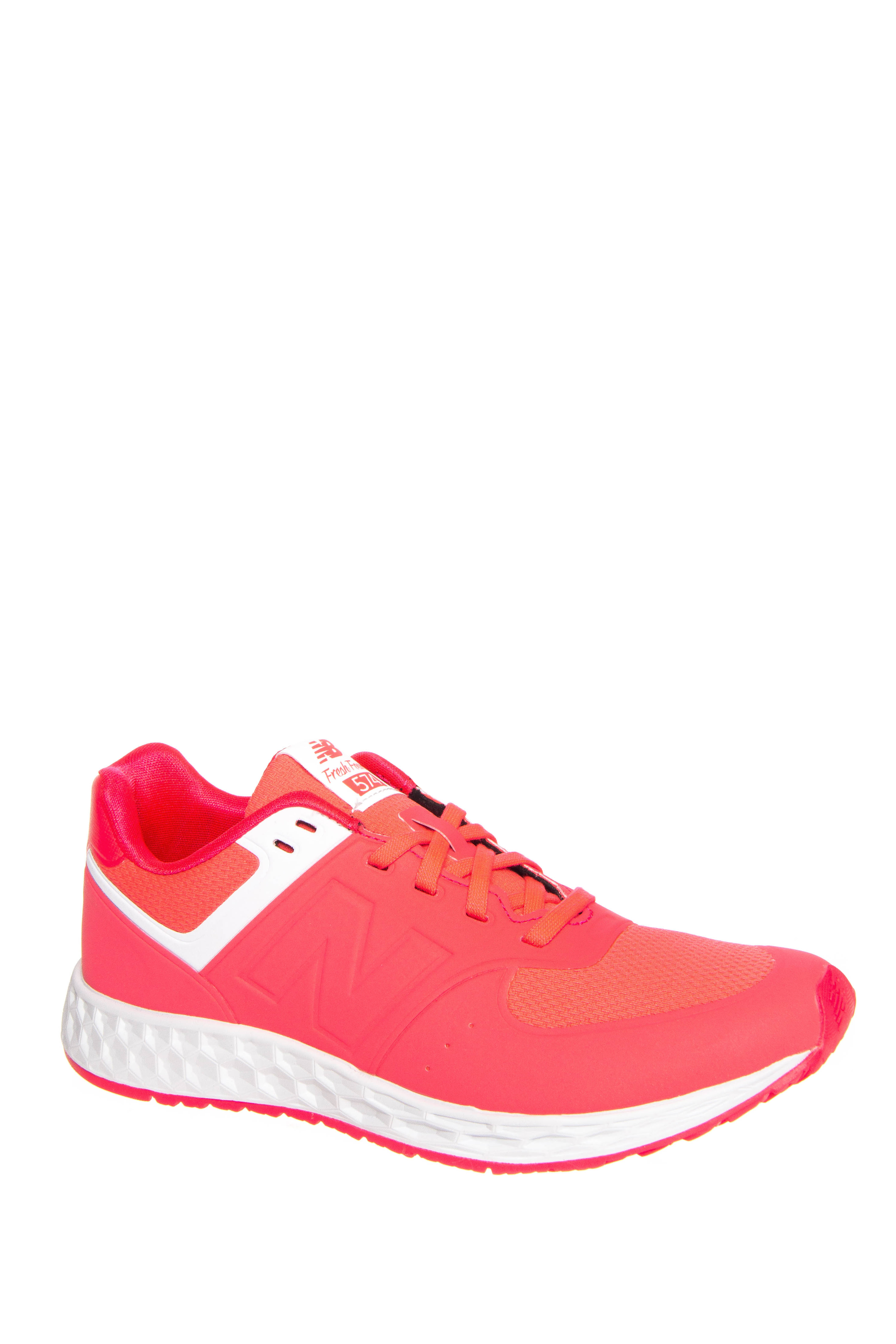 New Balance 574 Fresh Foam Low Top Sneakers - Bright Cherry / White