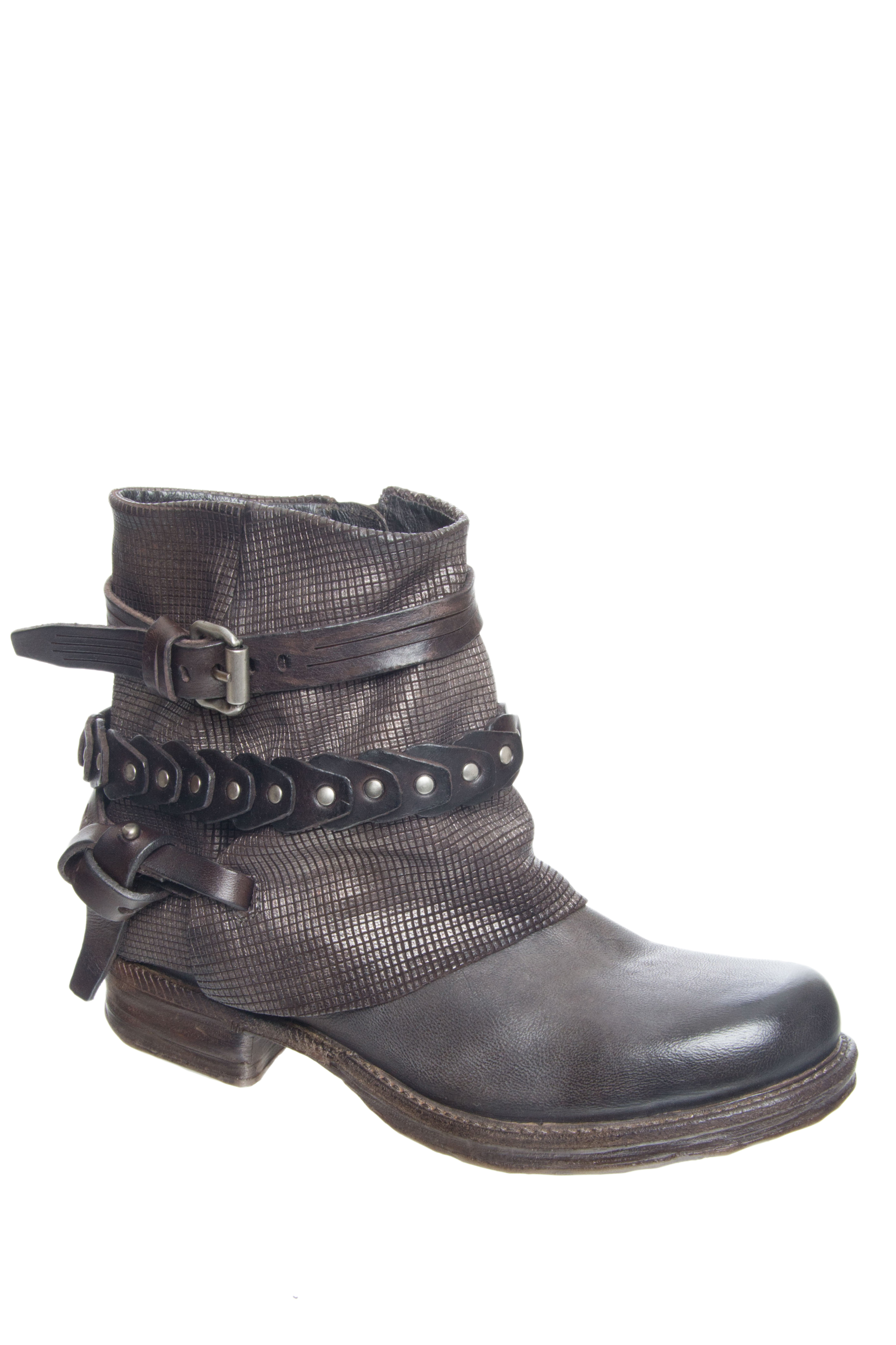 A.S.98 Stratton Low Heel Boots - Smoke