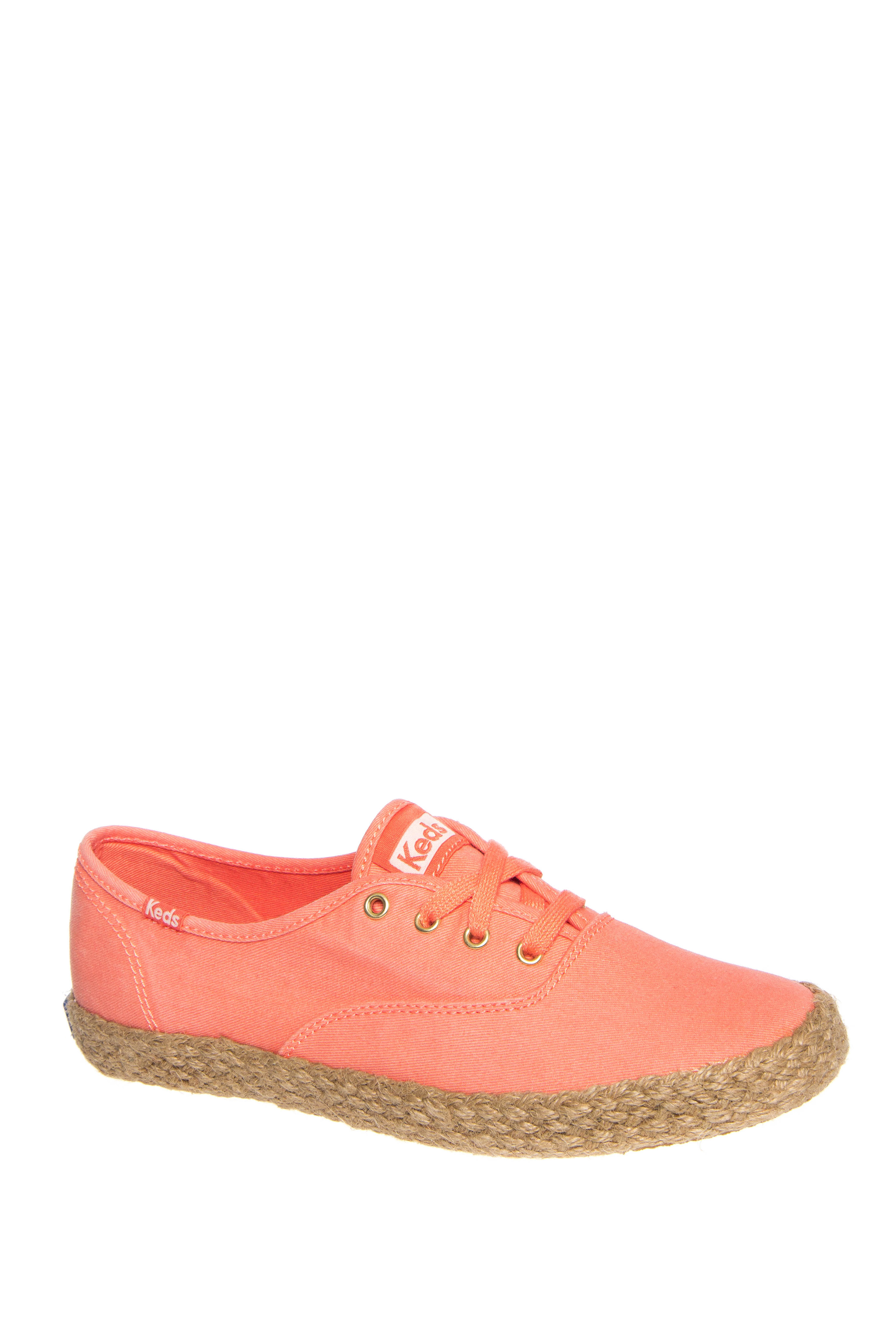 Keds Champion Washed Jute Low Top Sneakers - Coral