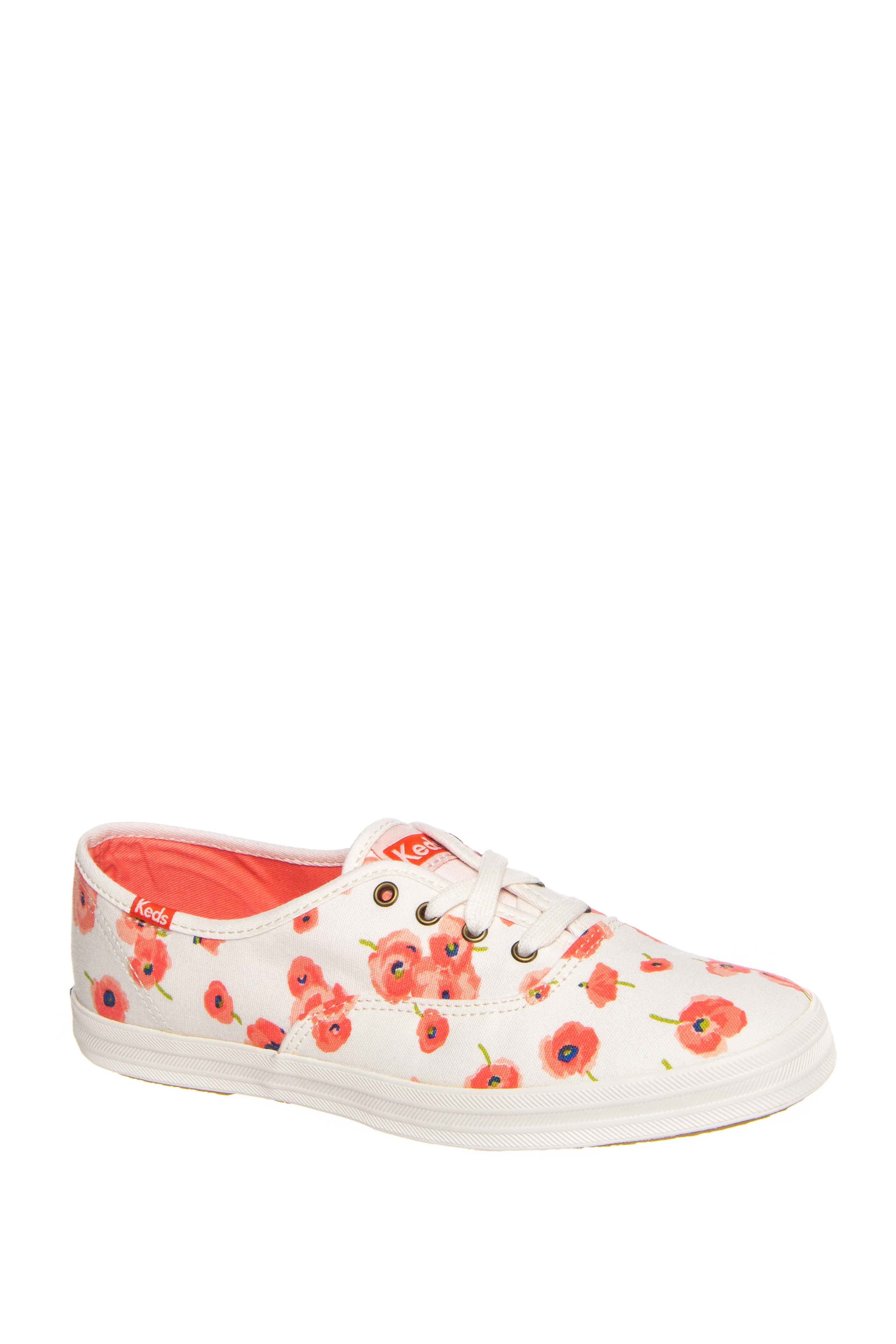 Keds Champion Poppy Low Top Sneakers - Cream Poppy Print