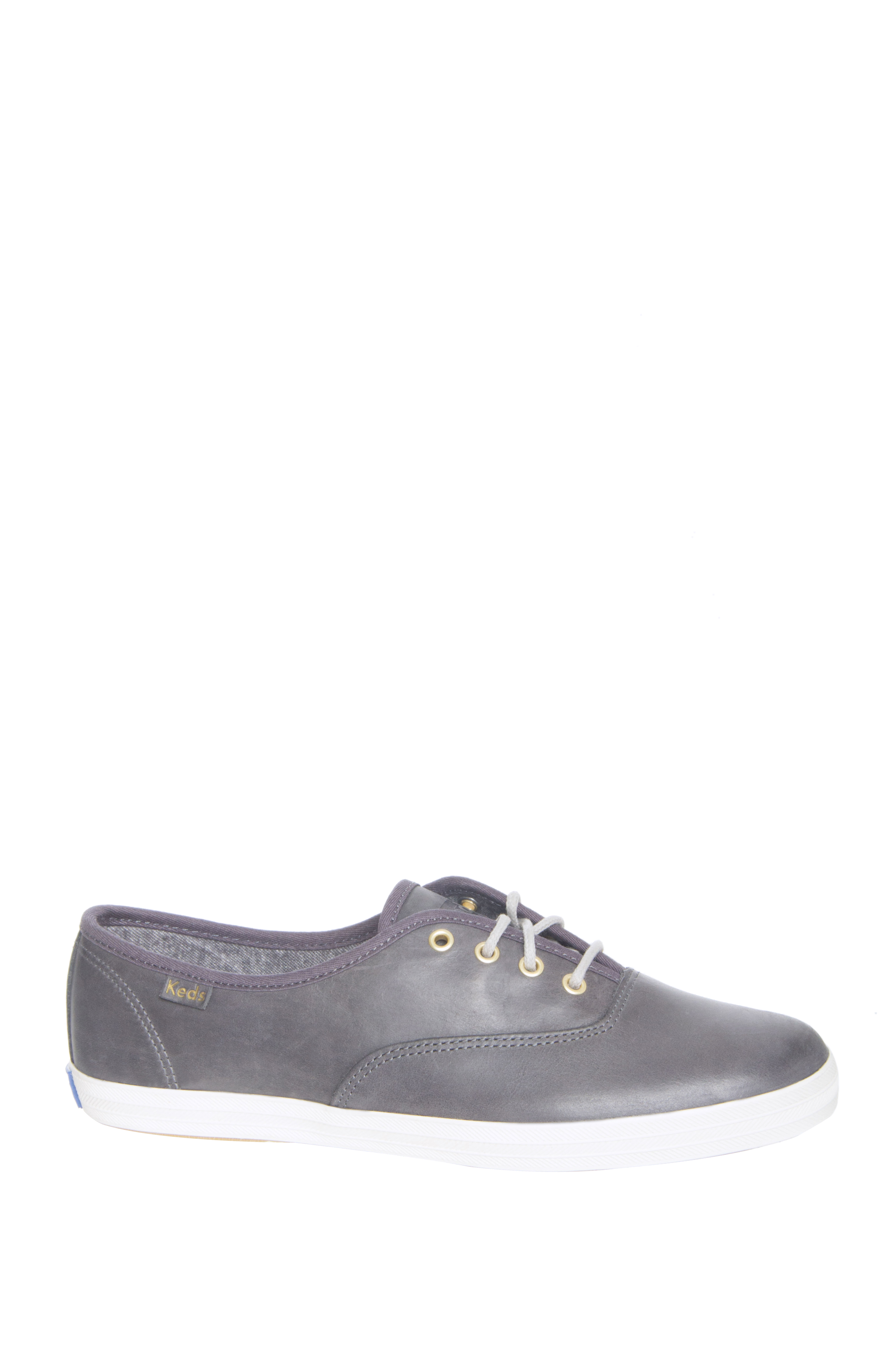 Keds Champion Burnished Leather Low Top Sneakers - Gunmetal