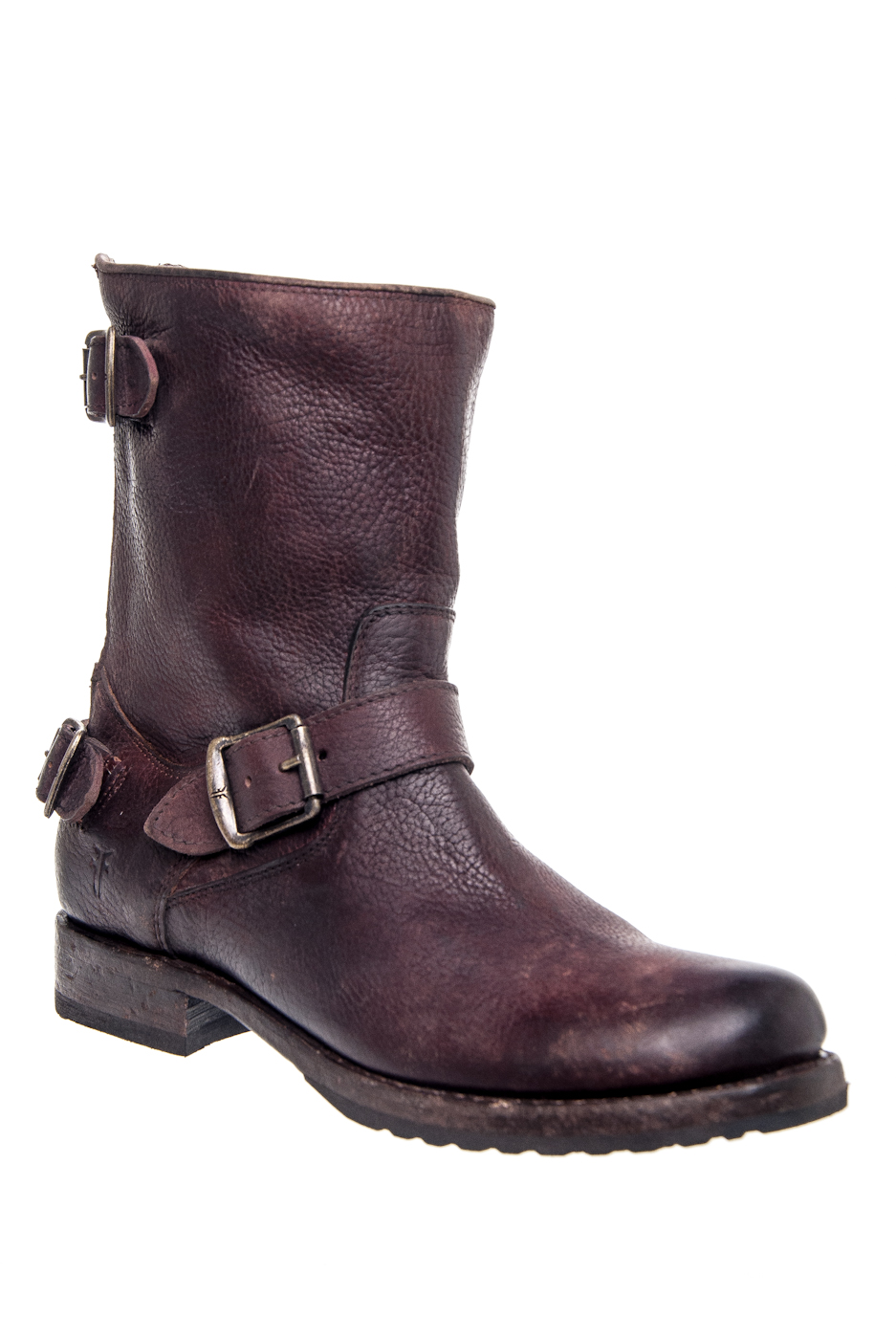 Frye Veronica Back Zip Short Low Heel Moto Mid Calf Boot - D