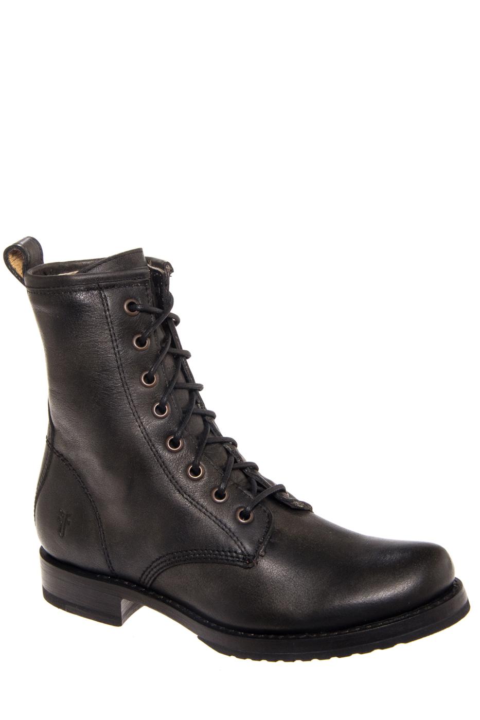 Frye Veronica Combat Low Heel Boots - Black