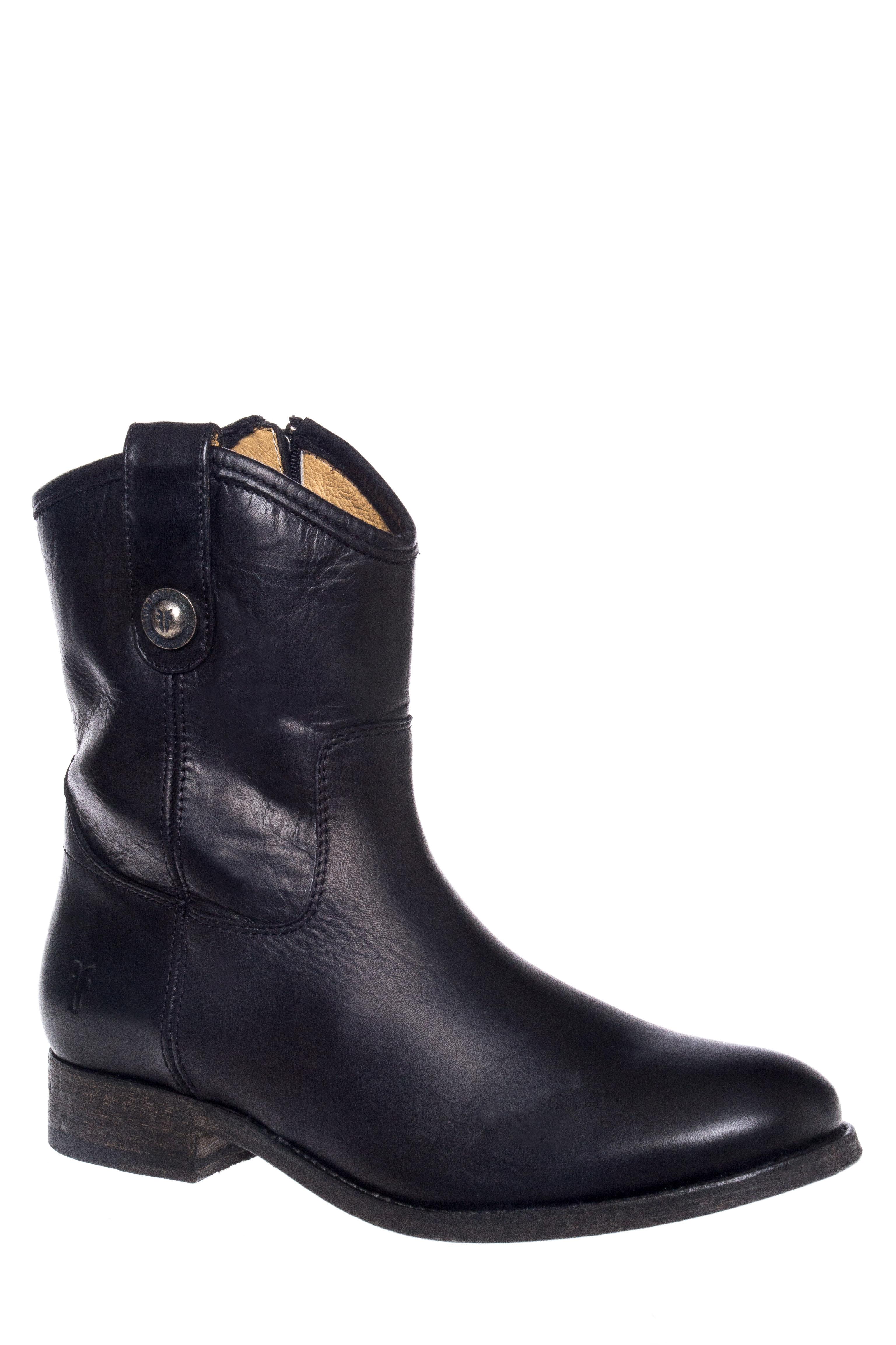 Frye Melissa Button Short Zip Boots - Black