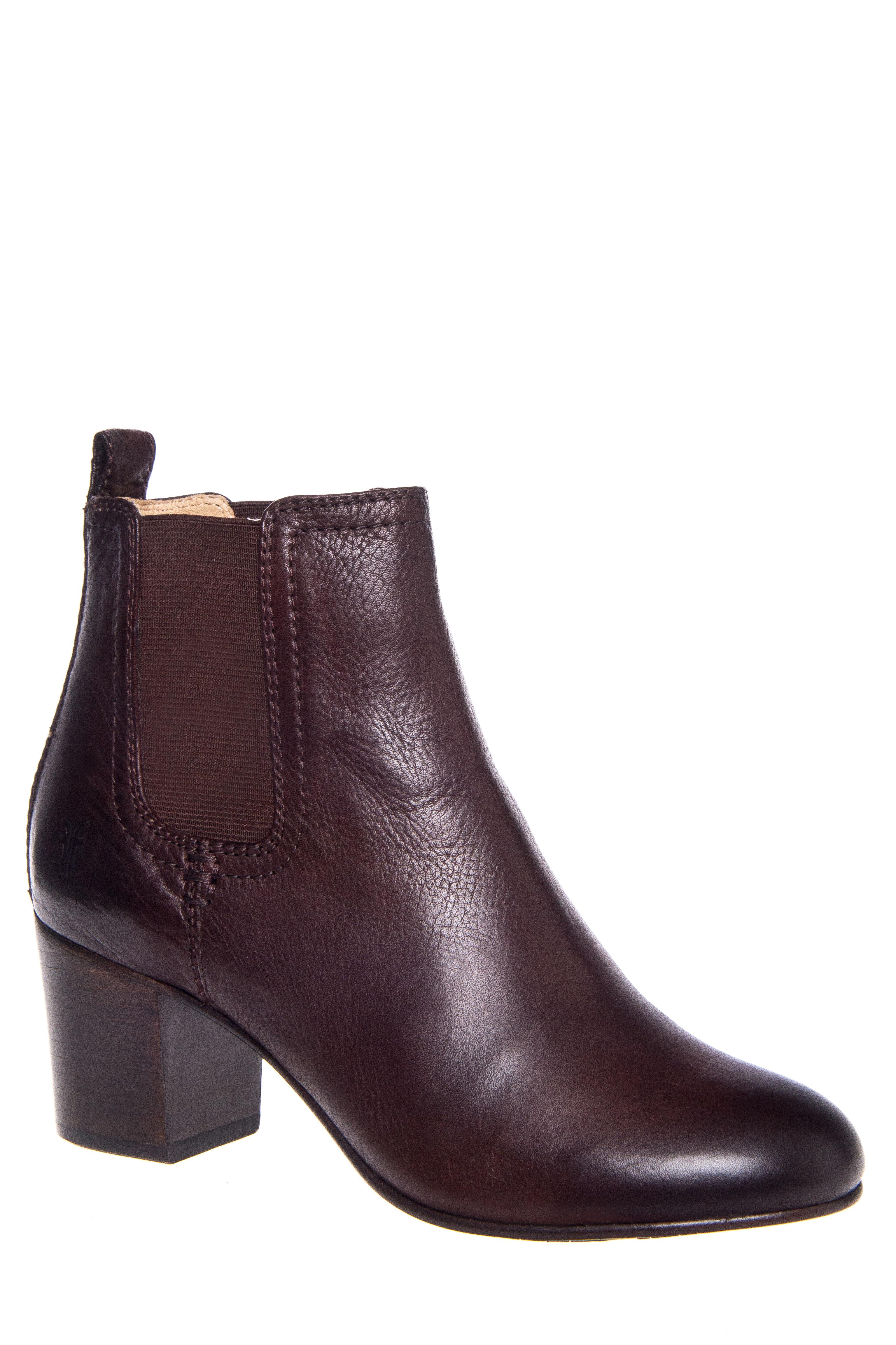 Frye Stella Chelsea Short Mid Heel Booties - Dark Brown