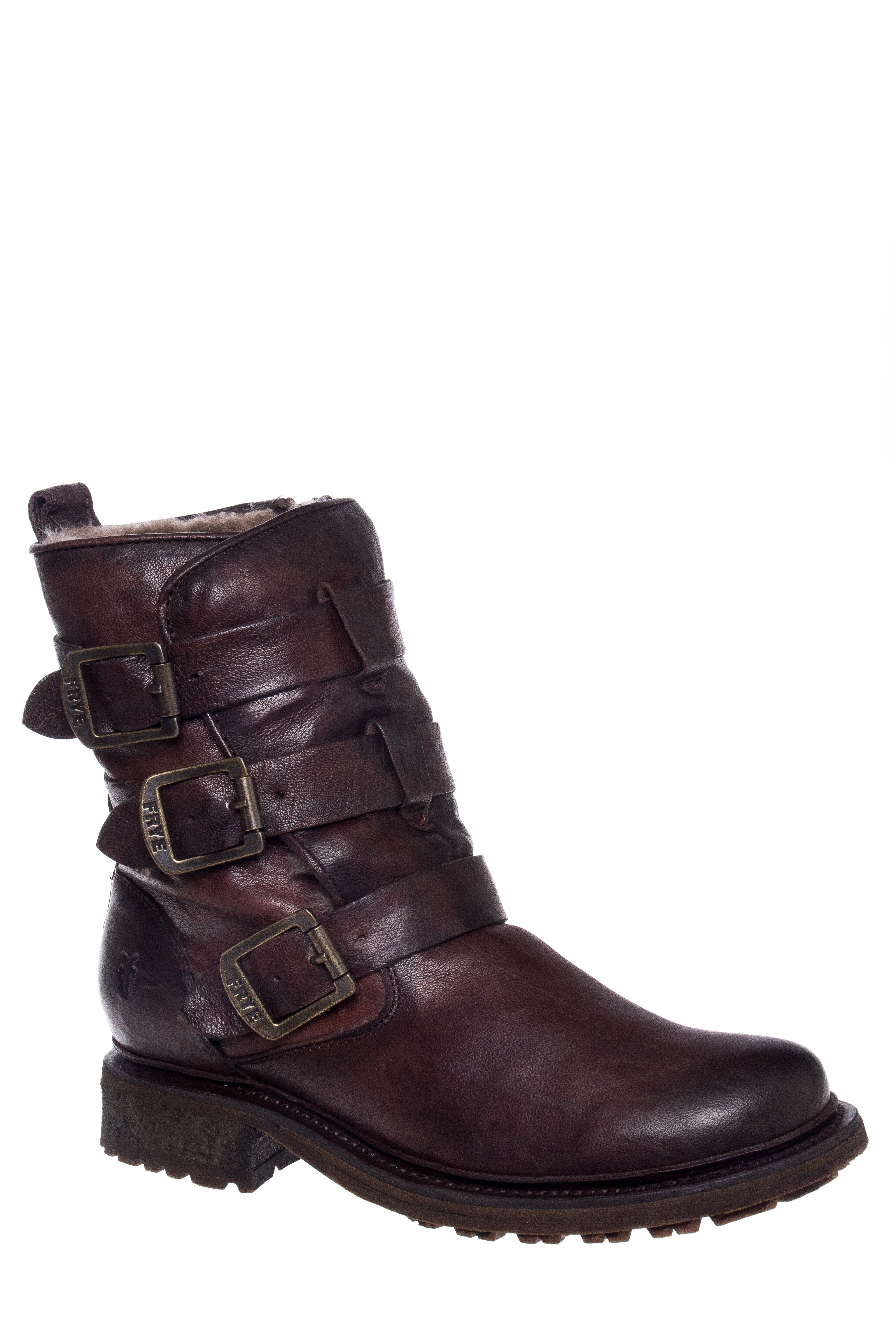 Frye Valerie Shearling Strappy Low Heel Boots - Dark Brown