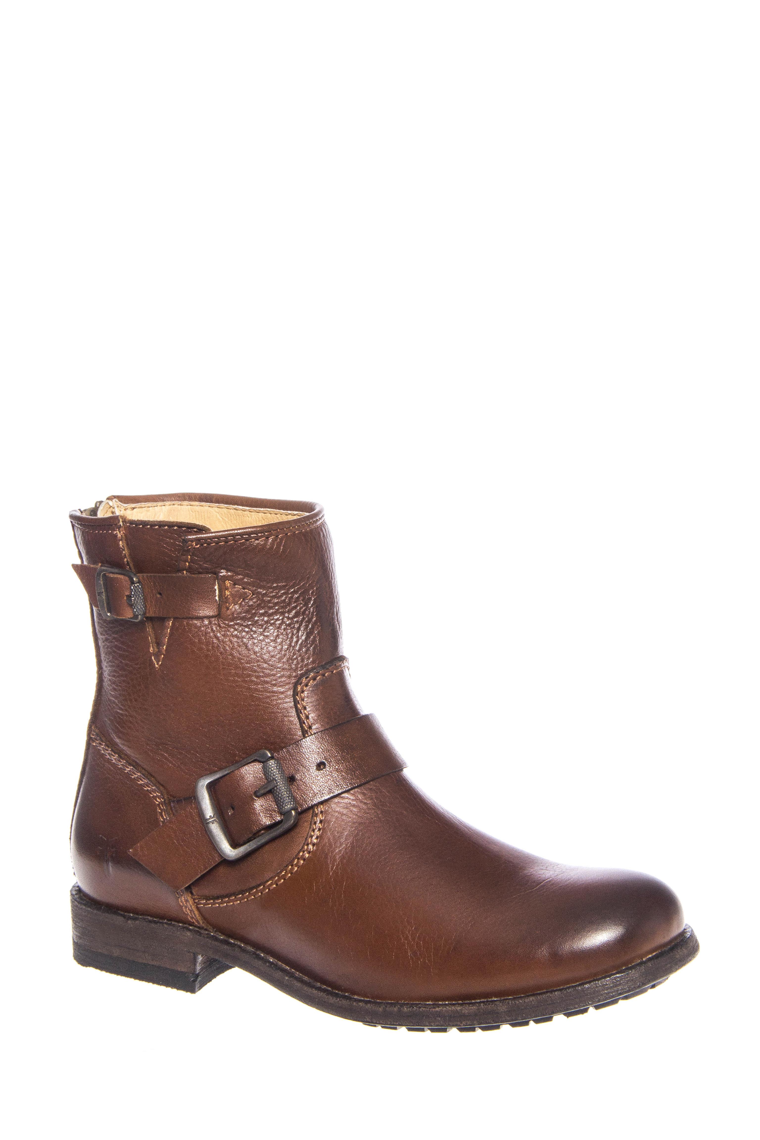Frye Tyler Engineer Low Heel Leather Boots - Cognac
